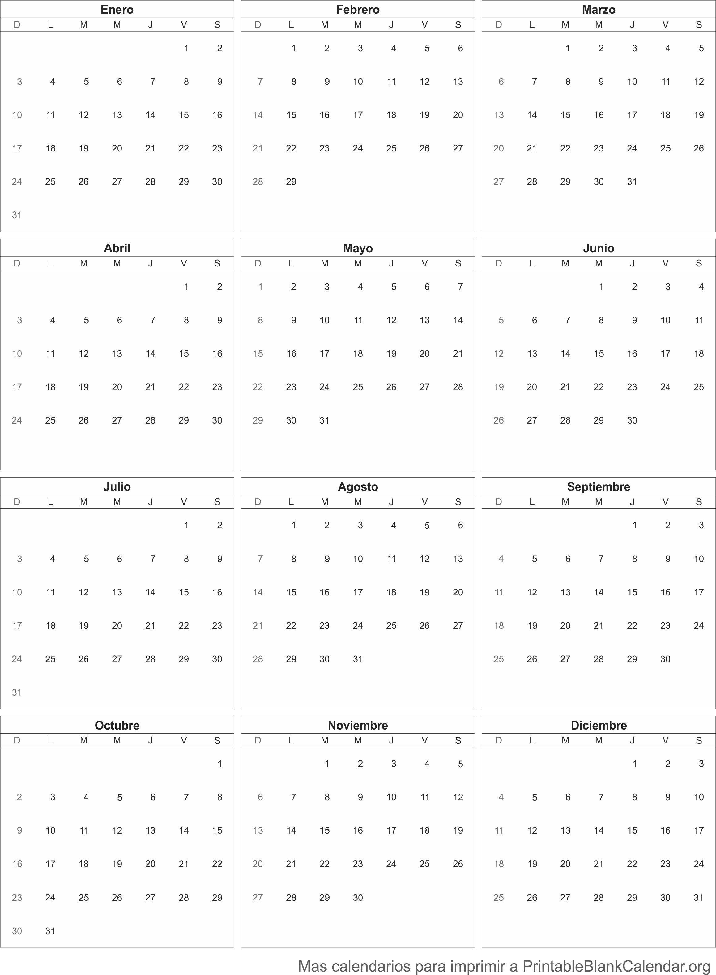 2016 Calendario para imprimir
