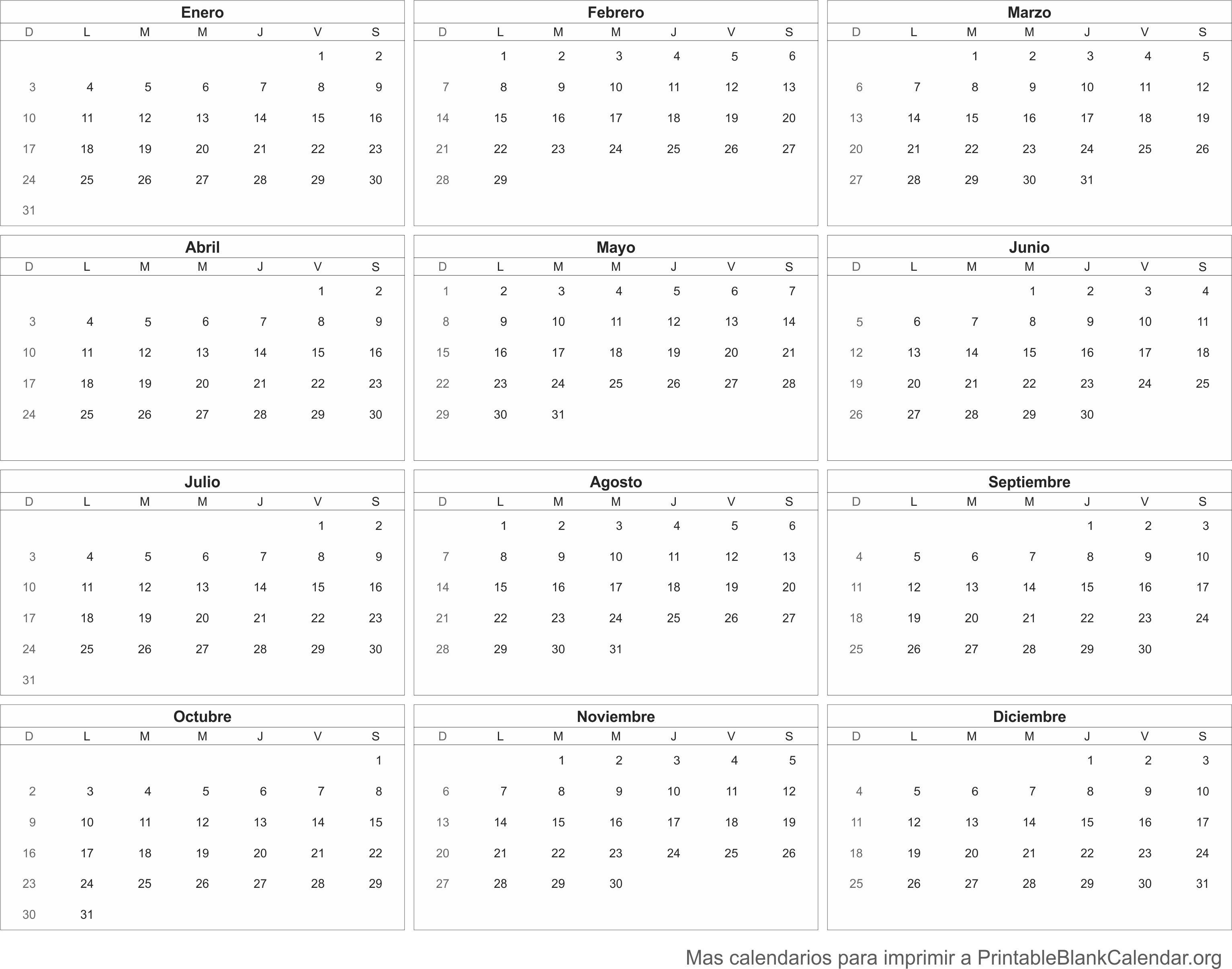 2016 Calendario
