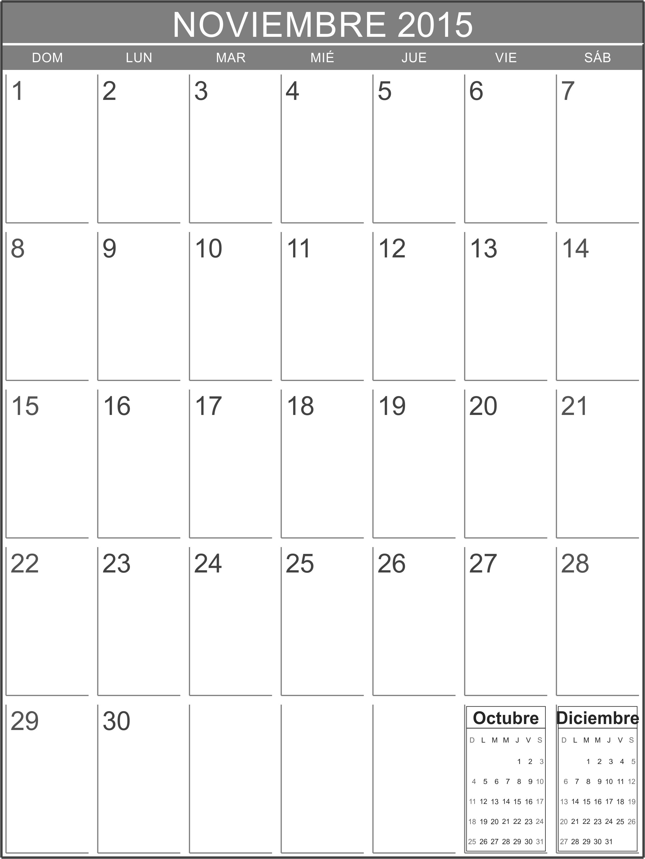 Calendario Nov 2015 para imprimir