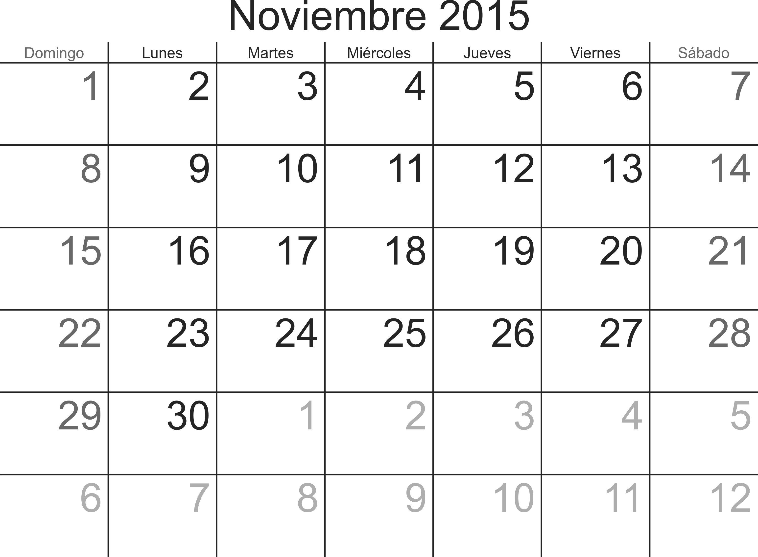 Calendario para imprimir Nov 2015