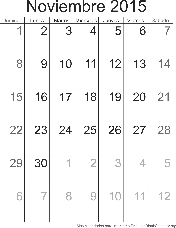 Calendario para imprimir Noviembre 2015