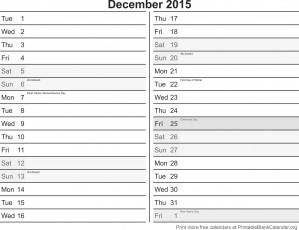 December 2015 free printable calendar