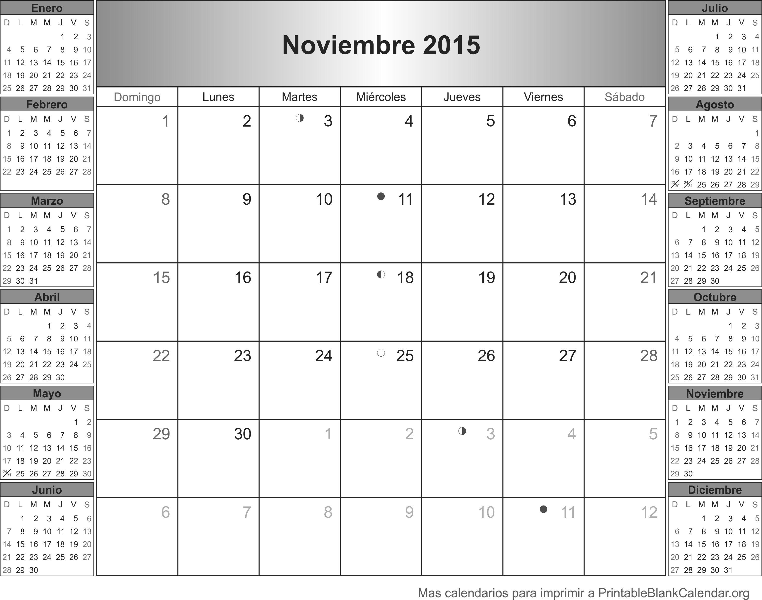 Imprimir calendario Noviembre 2015