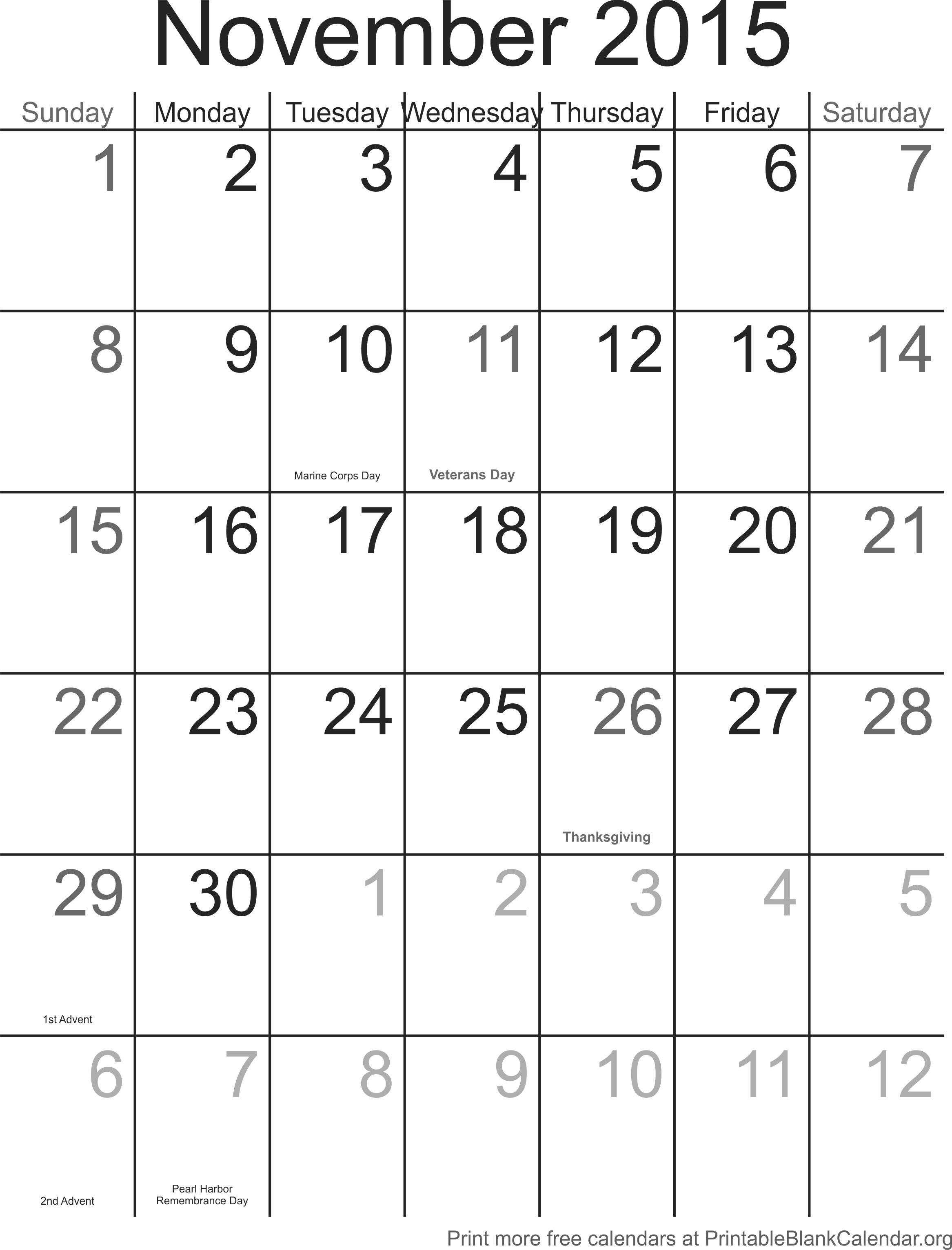 Noviembre 2015 calendario