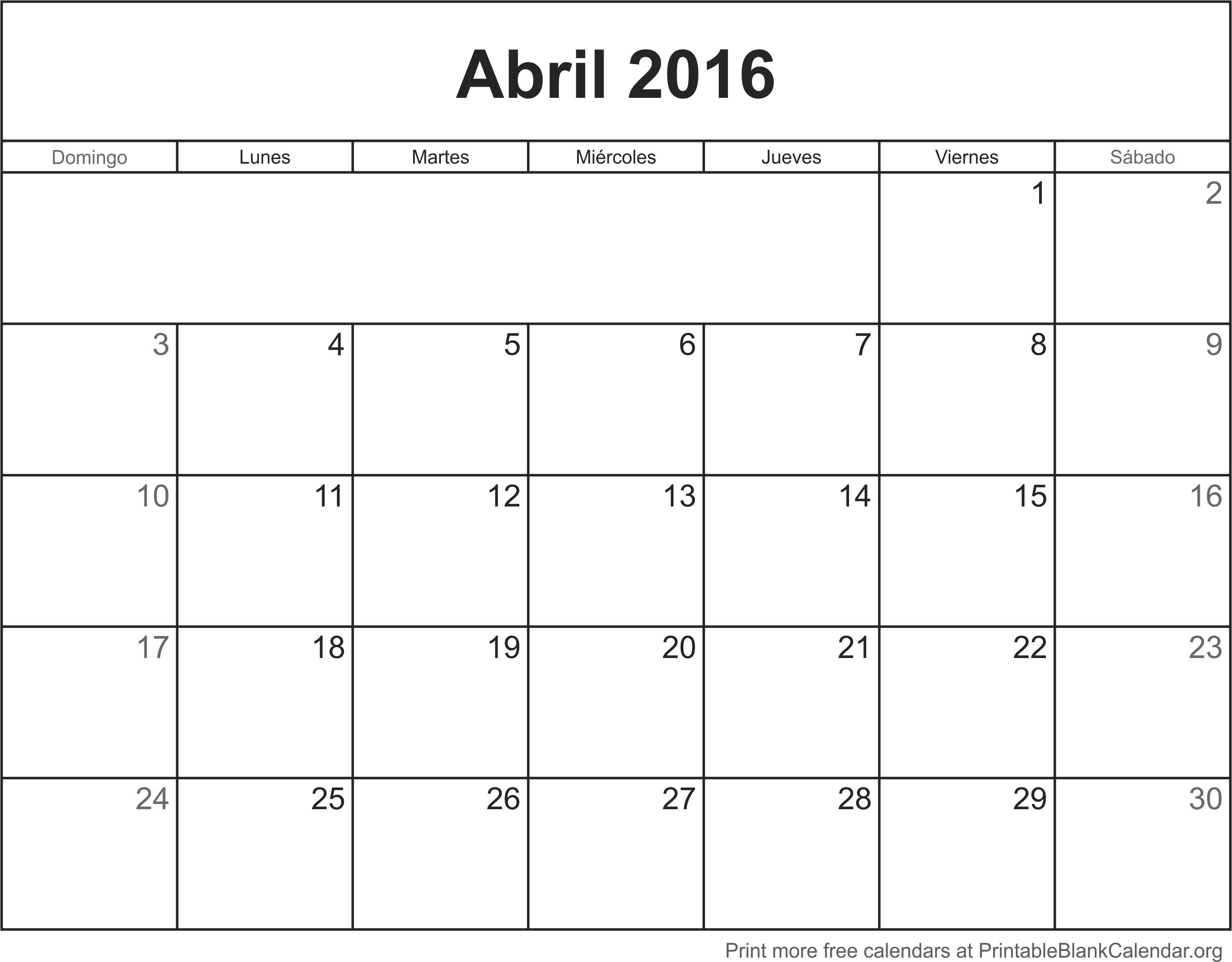 Abril 2016 Calendario para Imprimir - Calendarios Para Imprimir