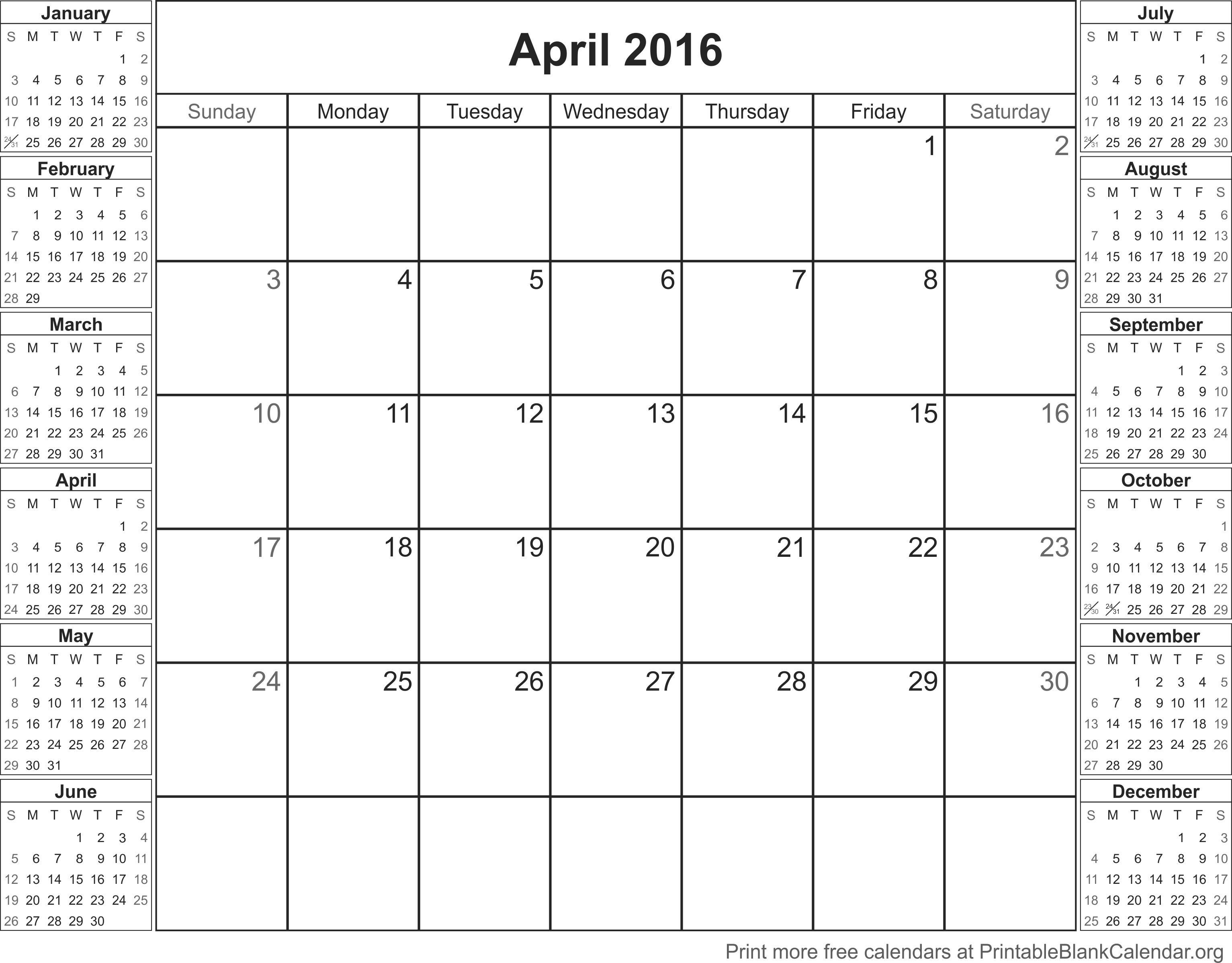 calendario abr 2016 para imprimir