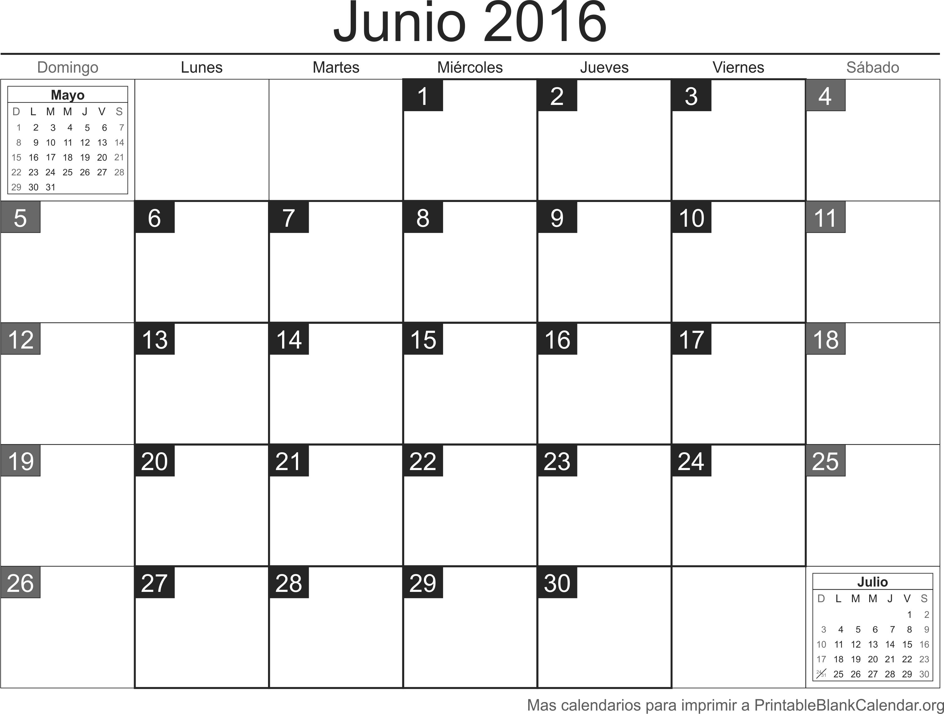 calendario junio 2016 para imprimir calendarios para On calendario junio 2016 para imprimir