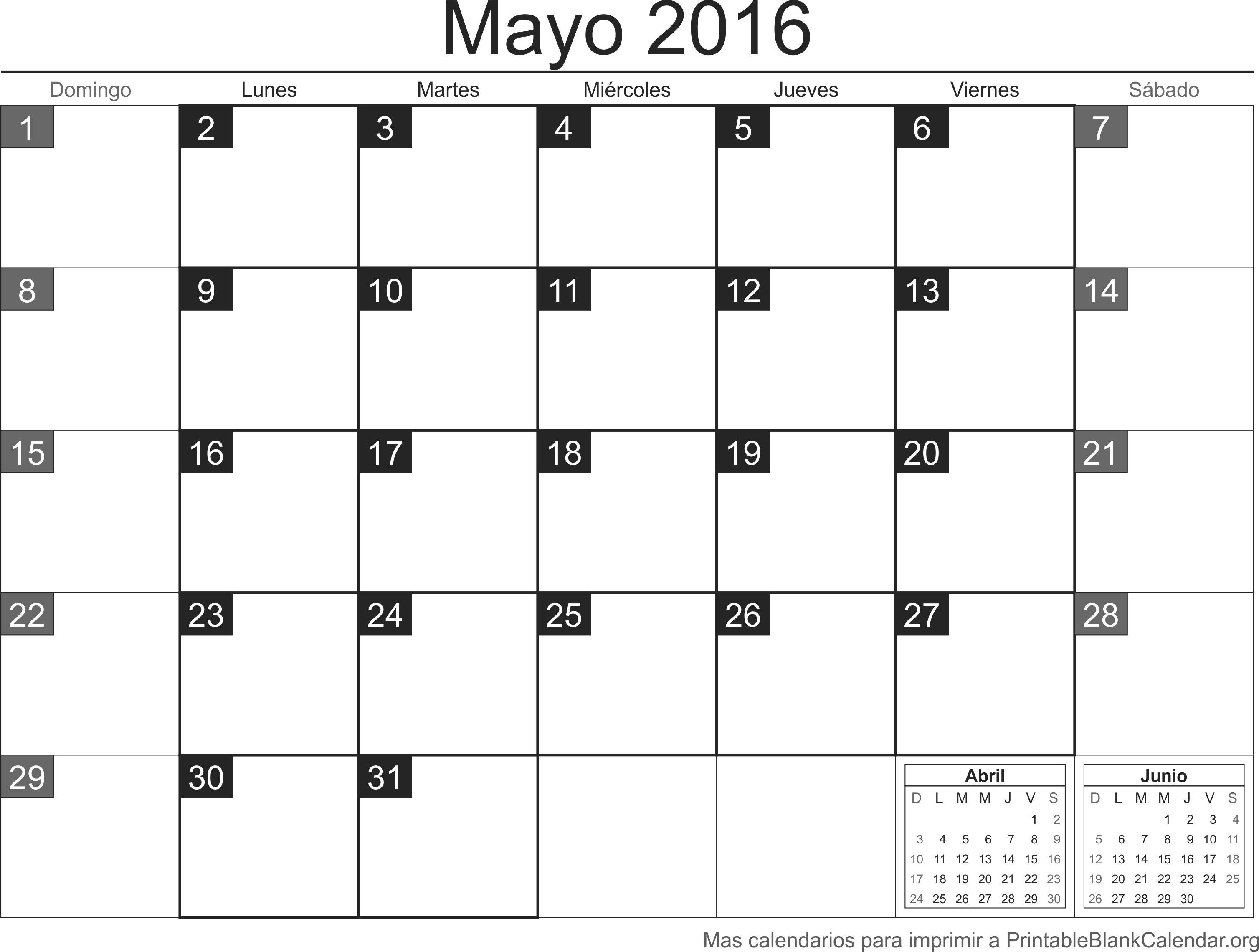 Calendario May 2016 para imprimir