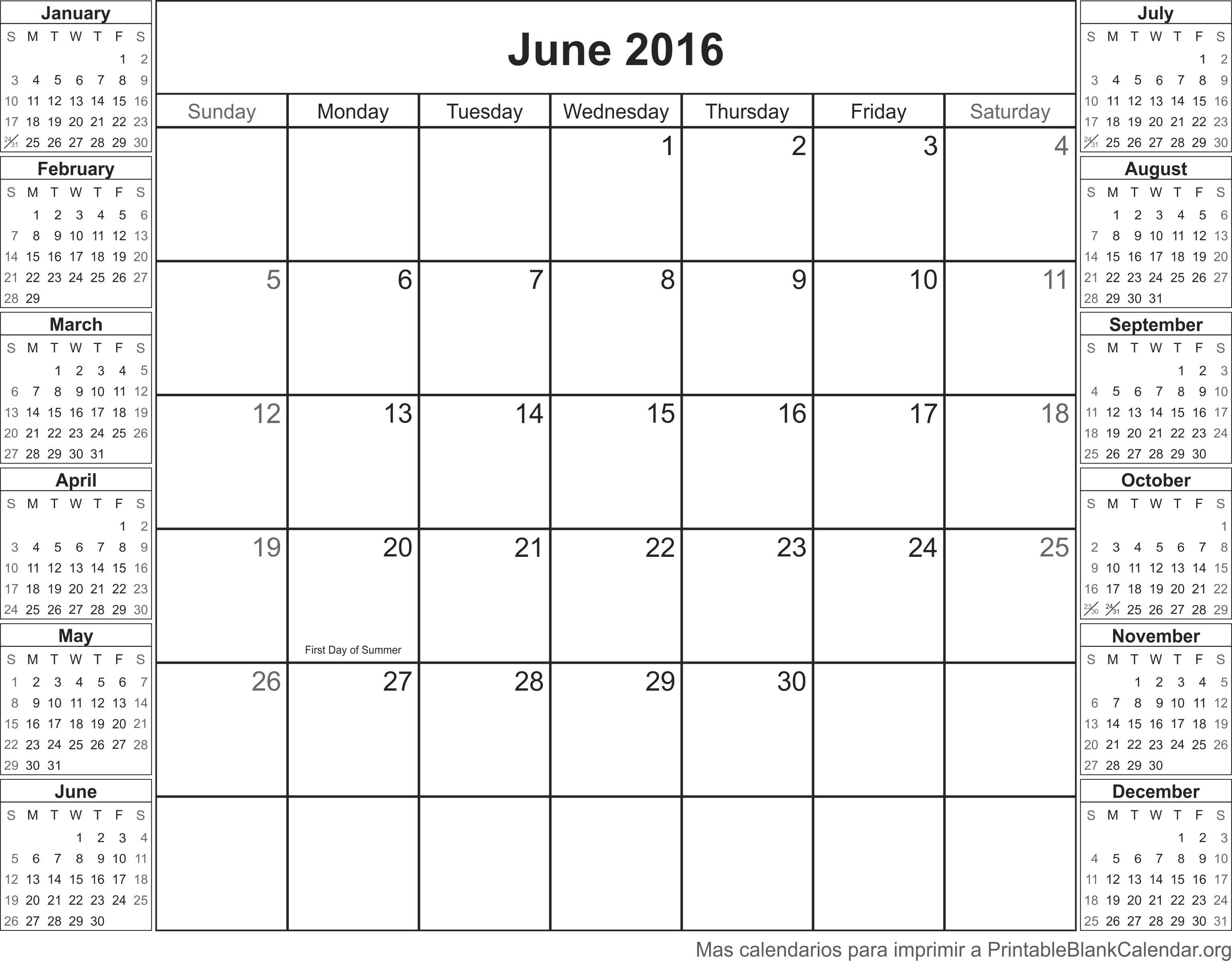 Calendario para imprimir Junio 2016