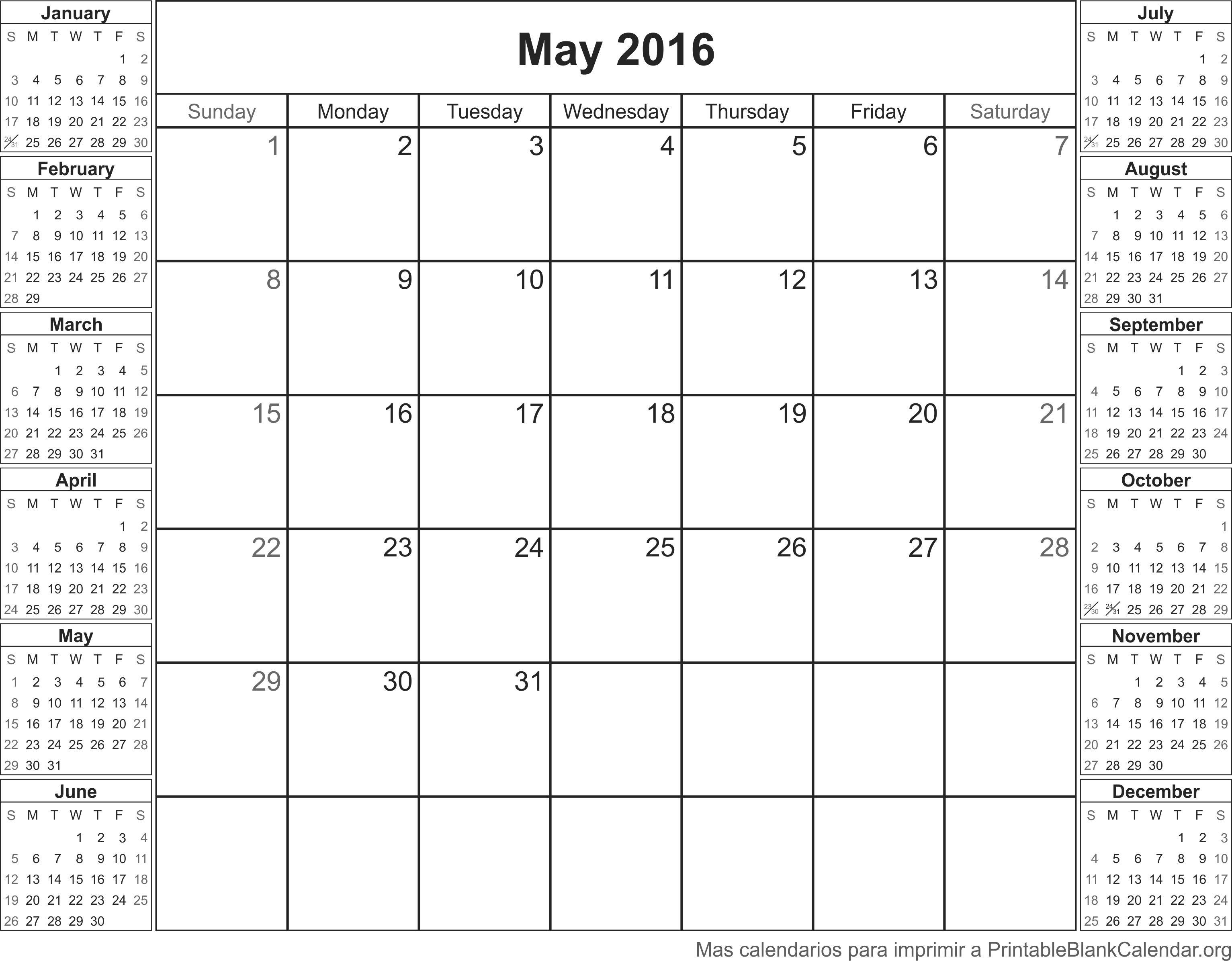 Calendario para imprimir May 2016