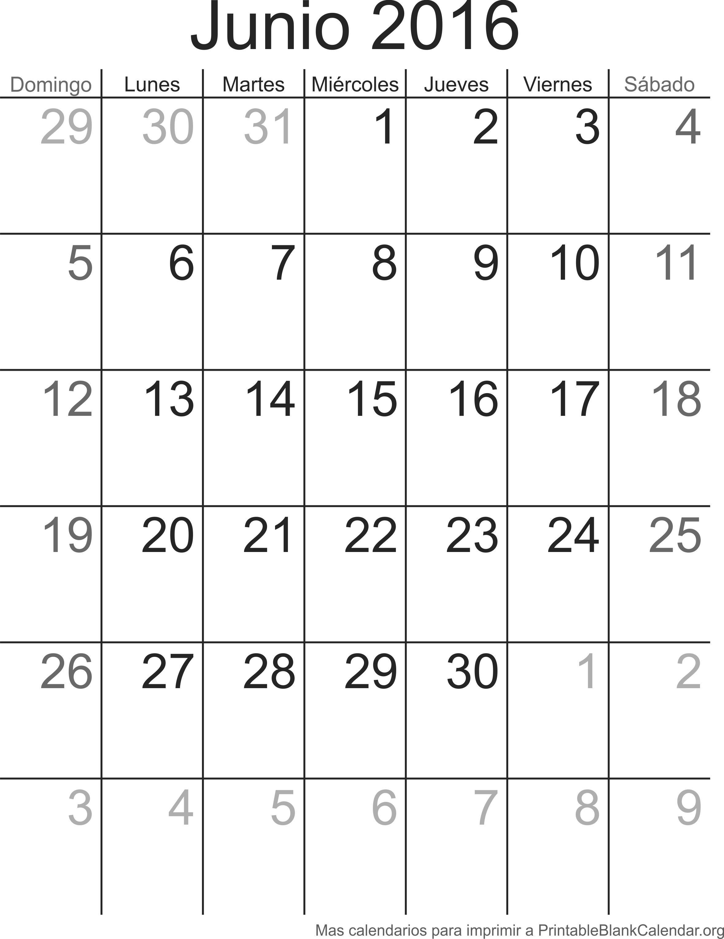 Imprimir calendario Junio 2016