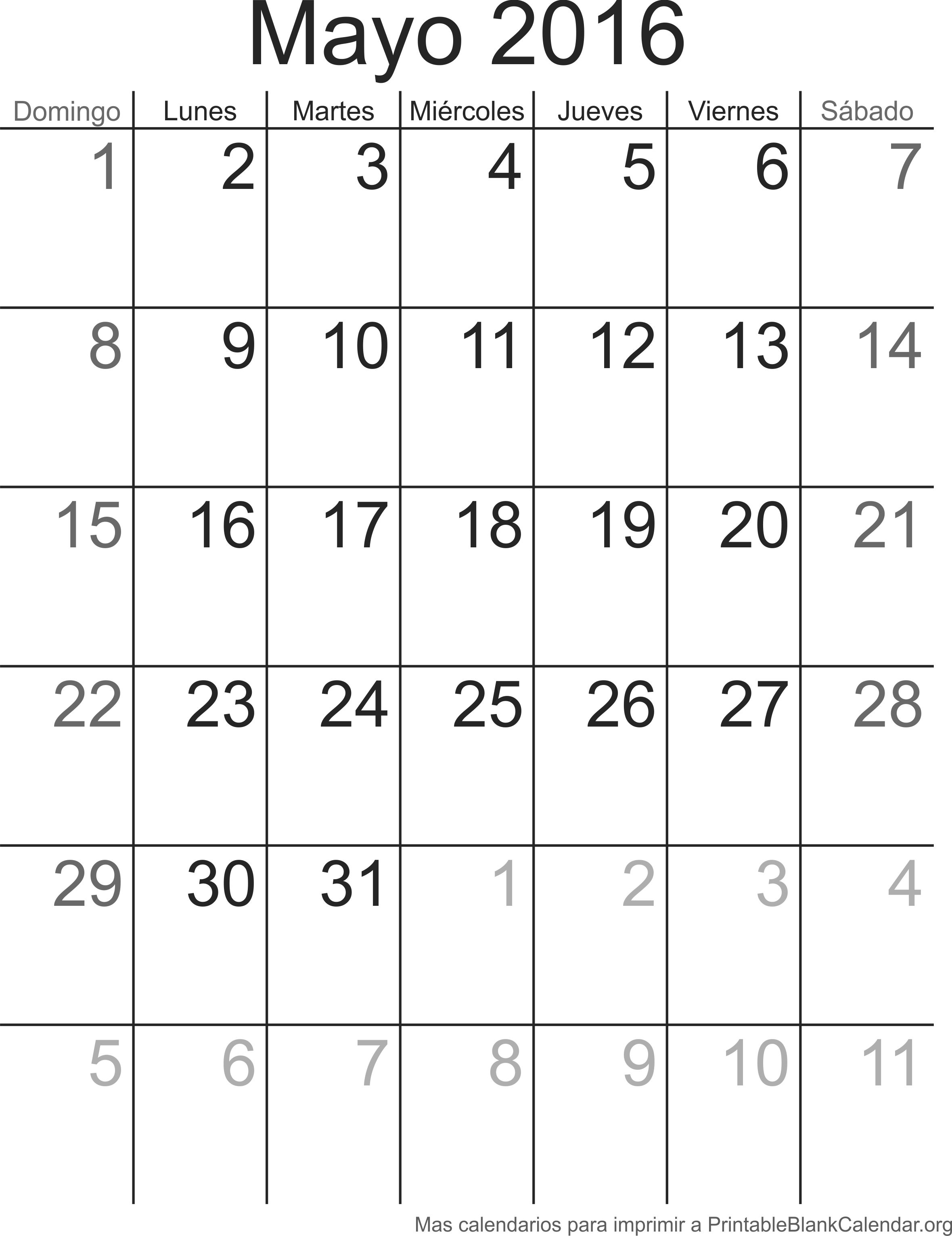 Imprimir calendario Mayo 2016