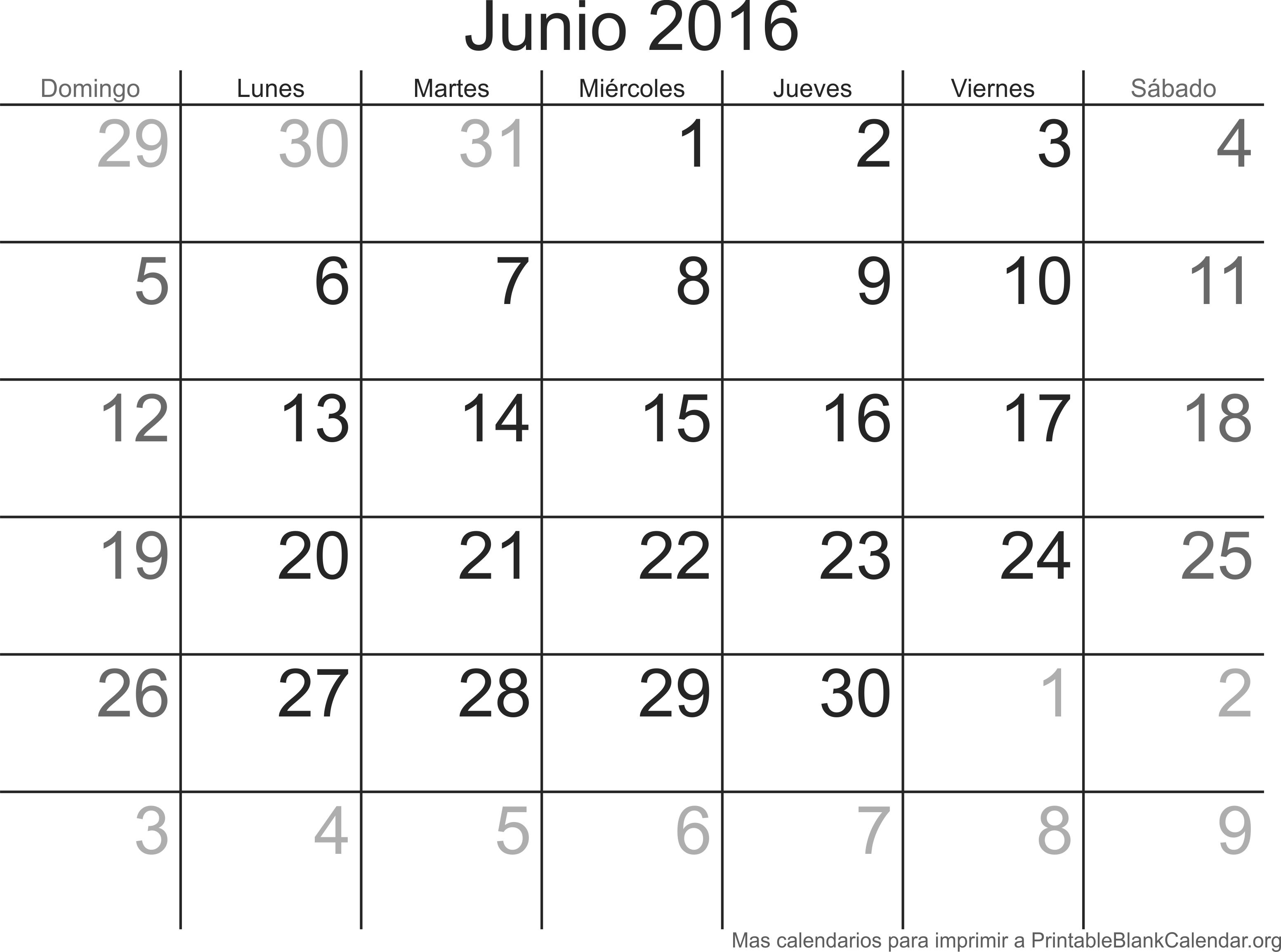 Junio 2016 calendario para imprimir calendarios para for Calendario junio 2016 para imprimir