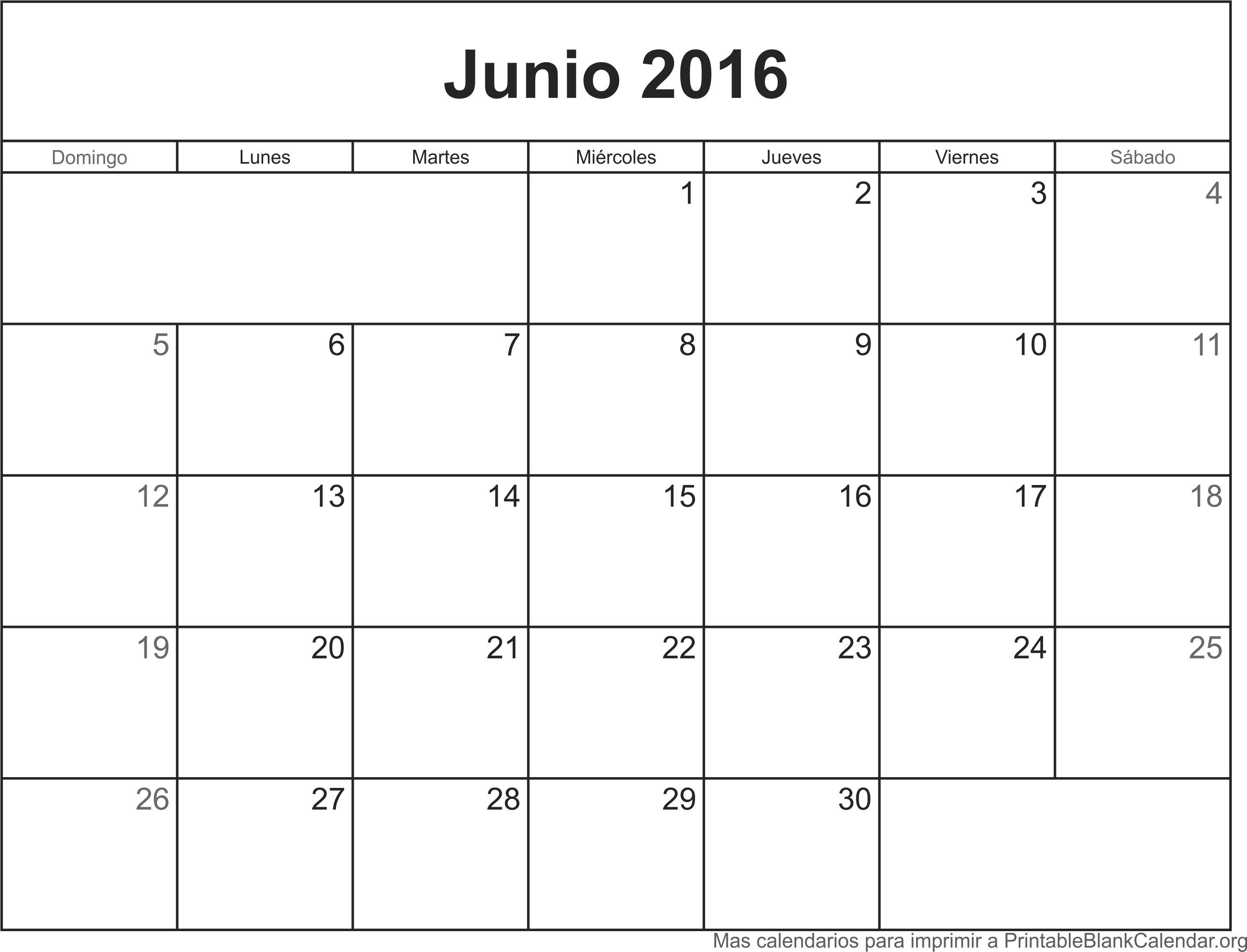 Calendario Junio 2016 Para Imprimir - Calendarios Para Imprimir
