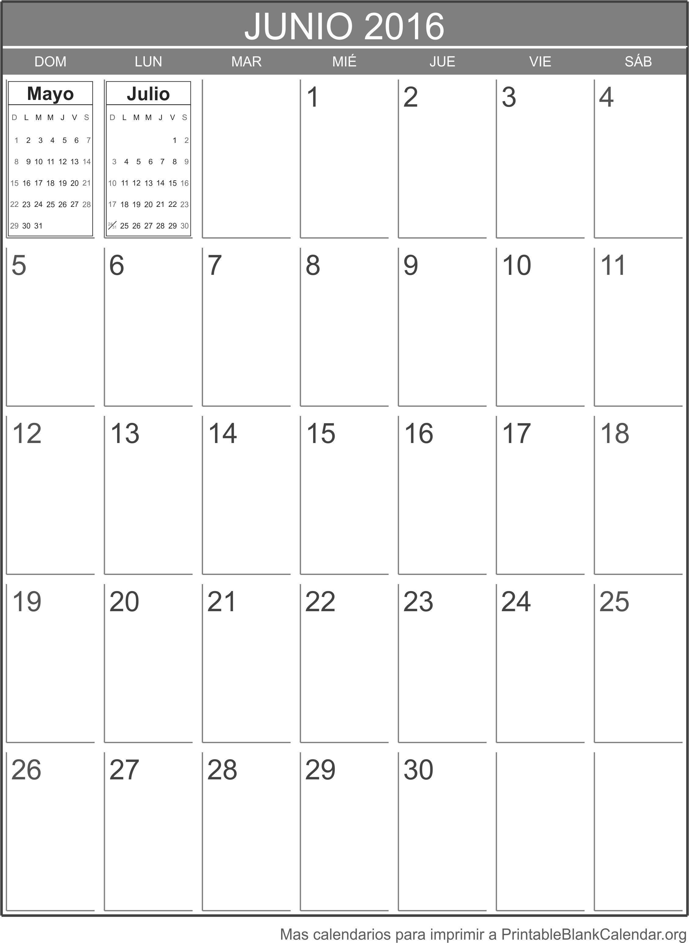 Junio 2016 calendario