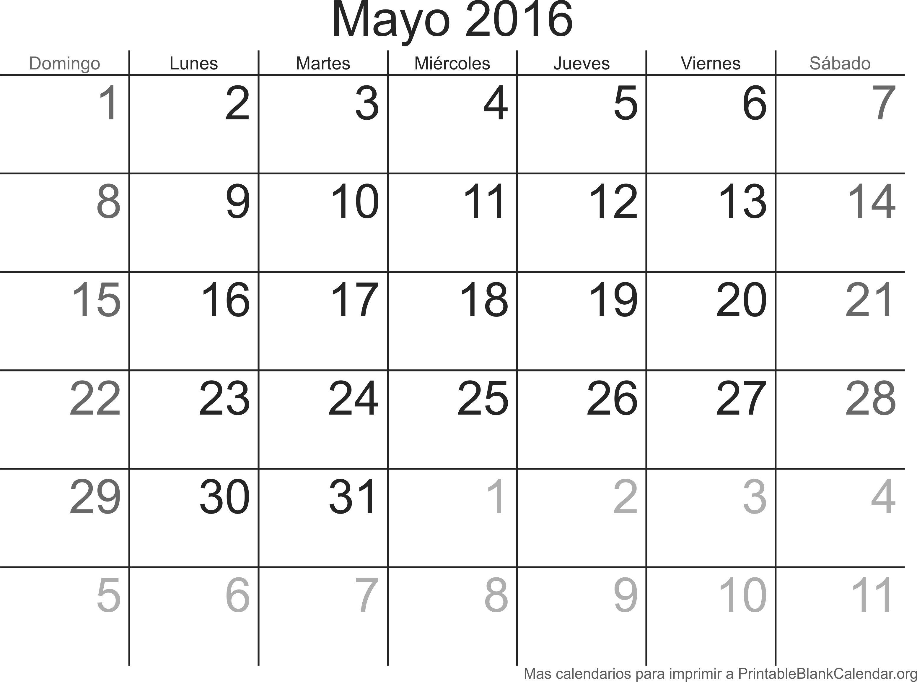 May 2016 calendario