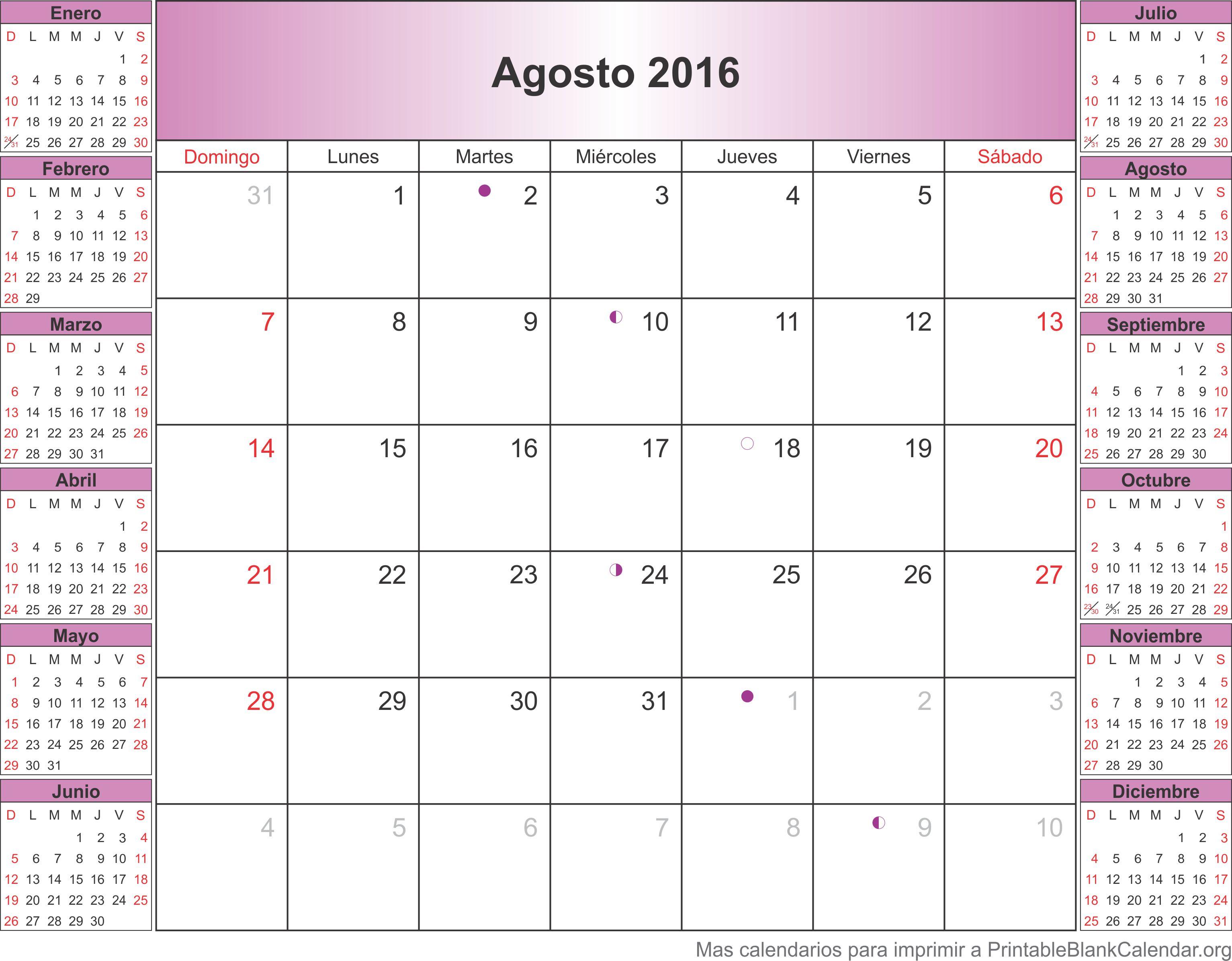 agosto 2016 calendario - Calendarios Para Imprimir