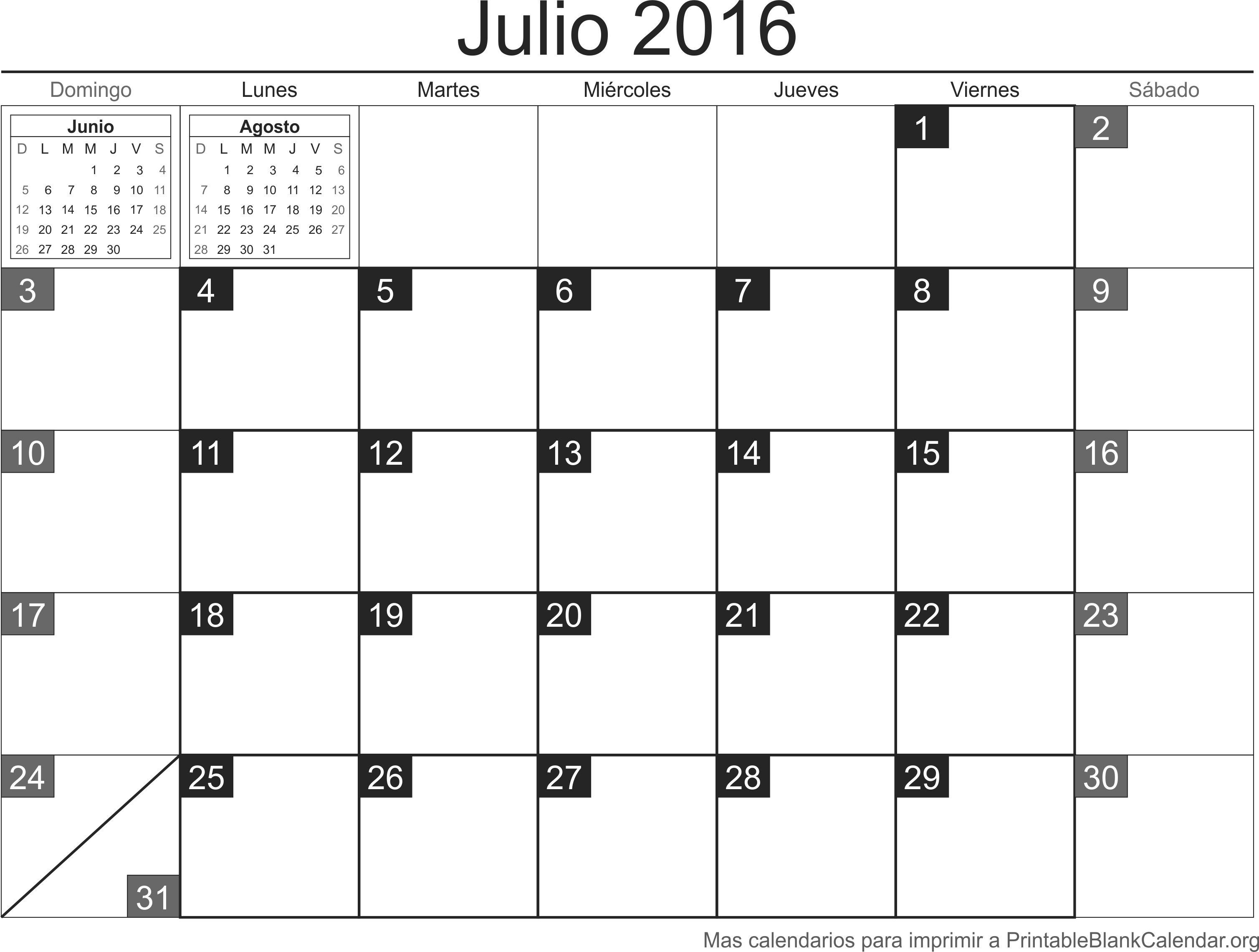 calendario jul 2016 para imprimir