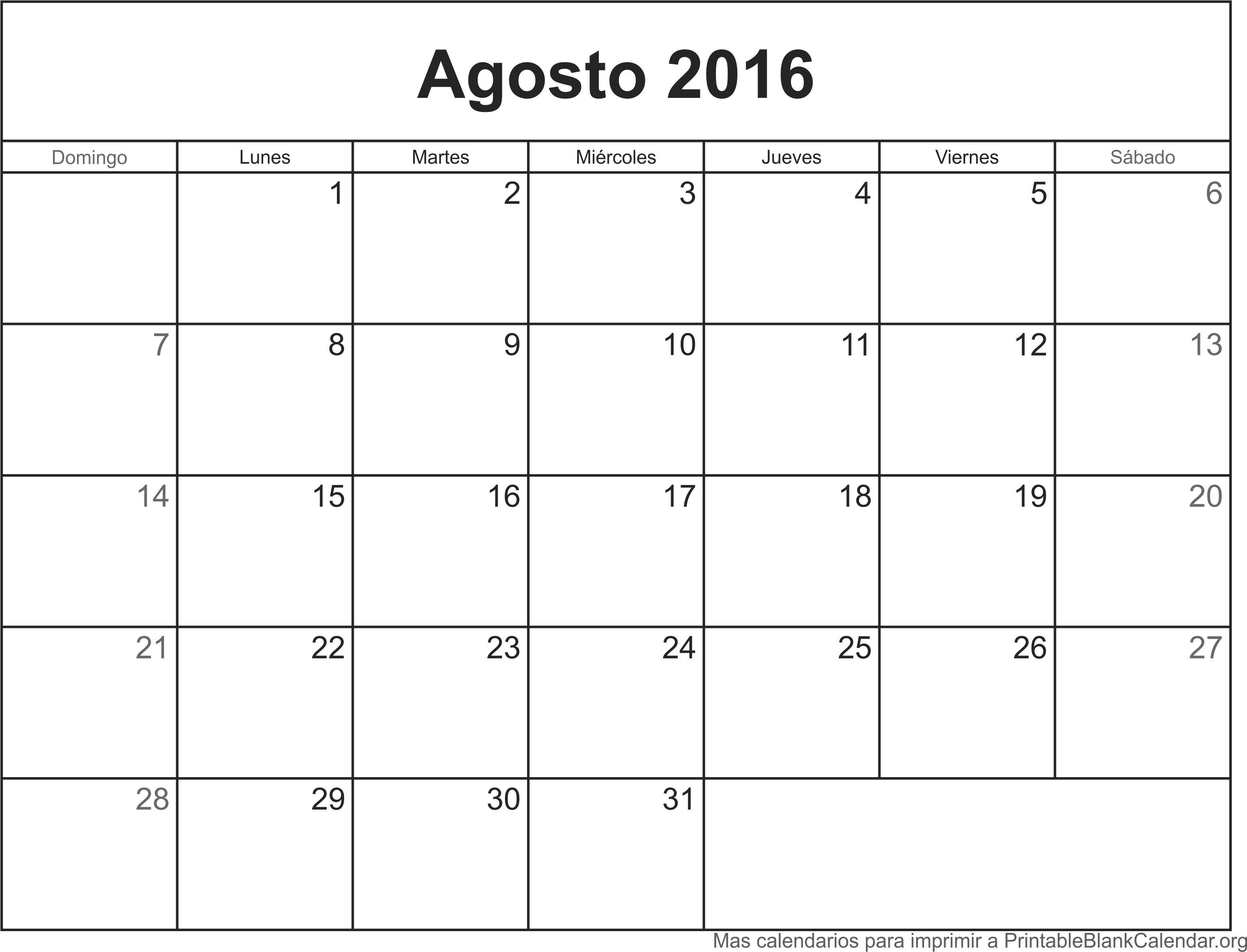 Calendario Agosto 2016 Related Keywords & Suggestions - Calendario ...