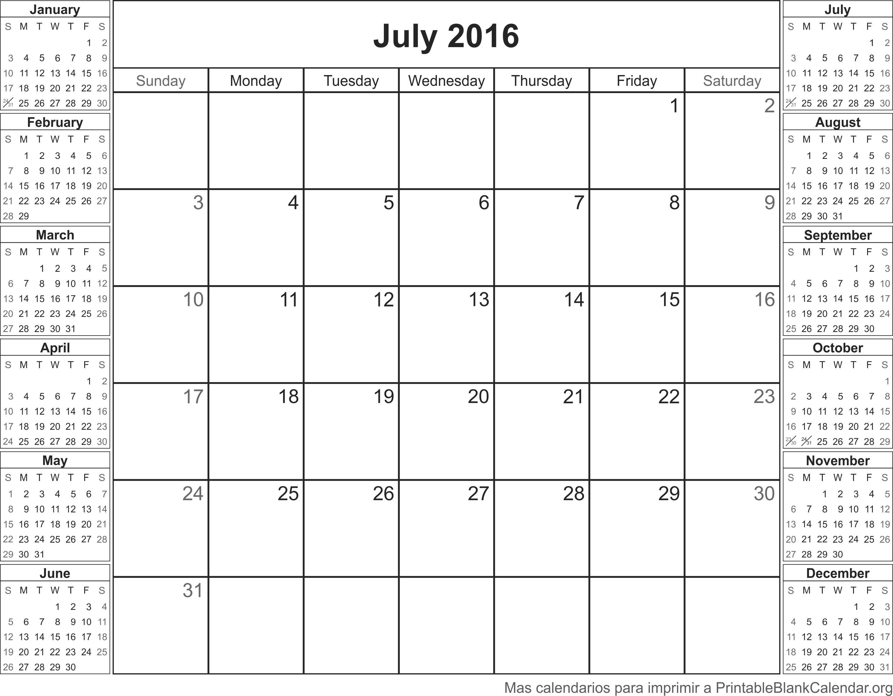 imprimir calendario julio 2016