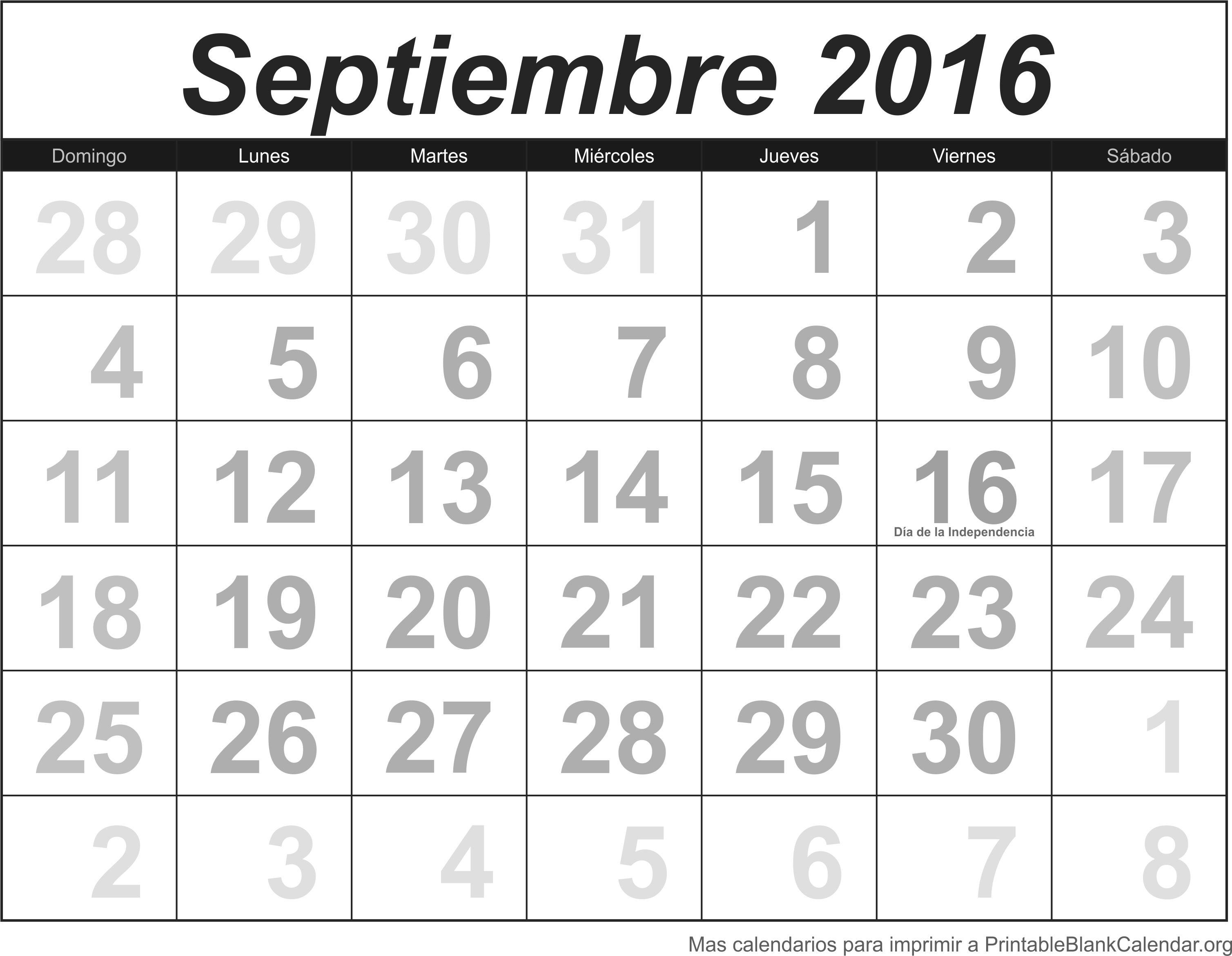 Septiembre 2016 Calendario para Imprimir - Calendarios Para Imprimir