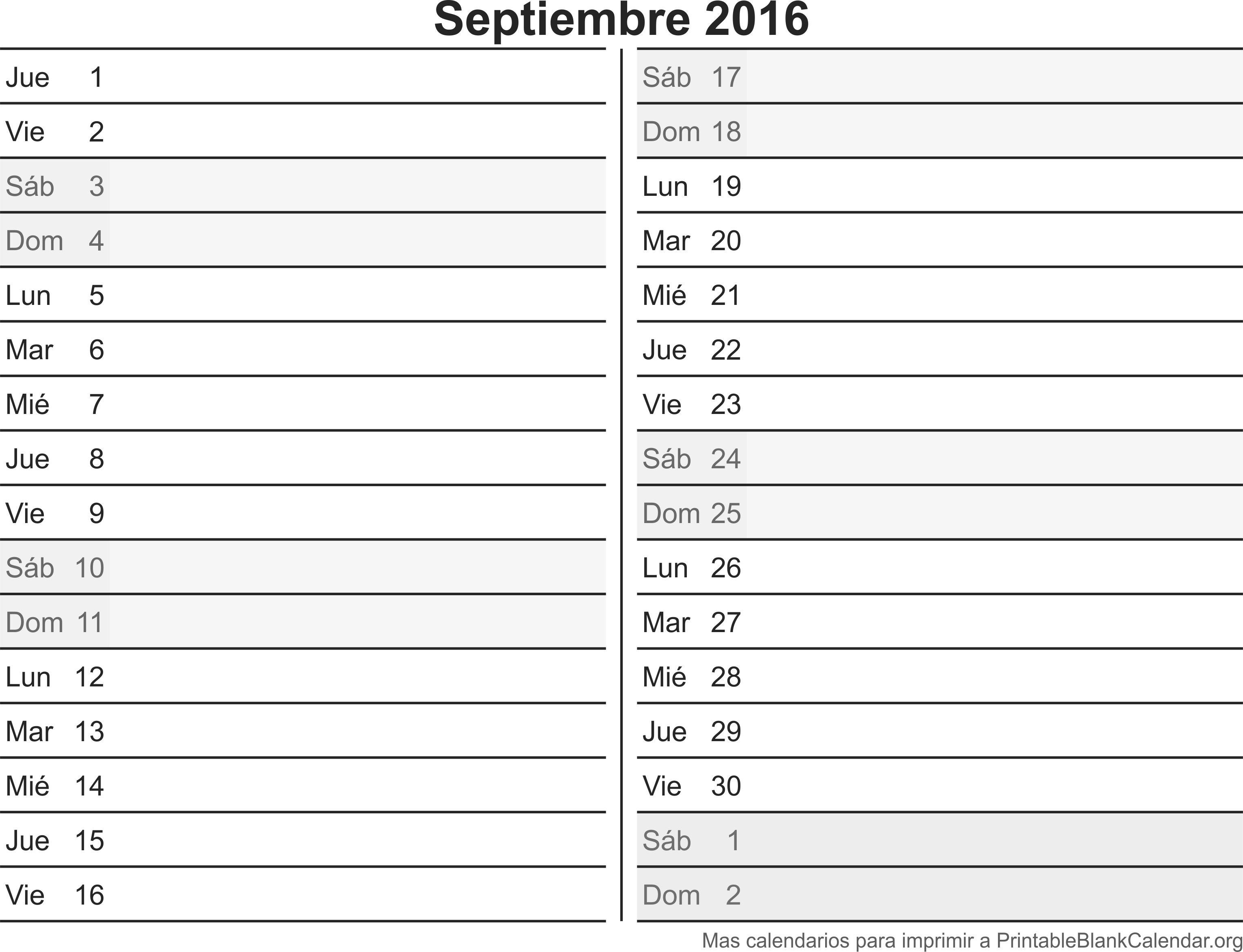 calendario sep 2016 para imprimir