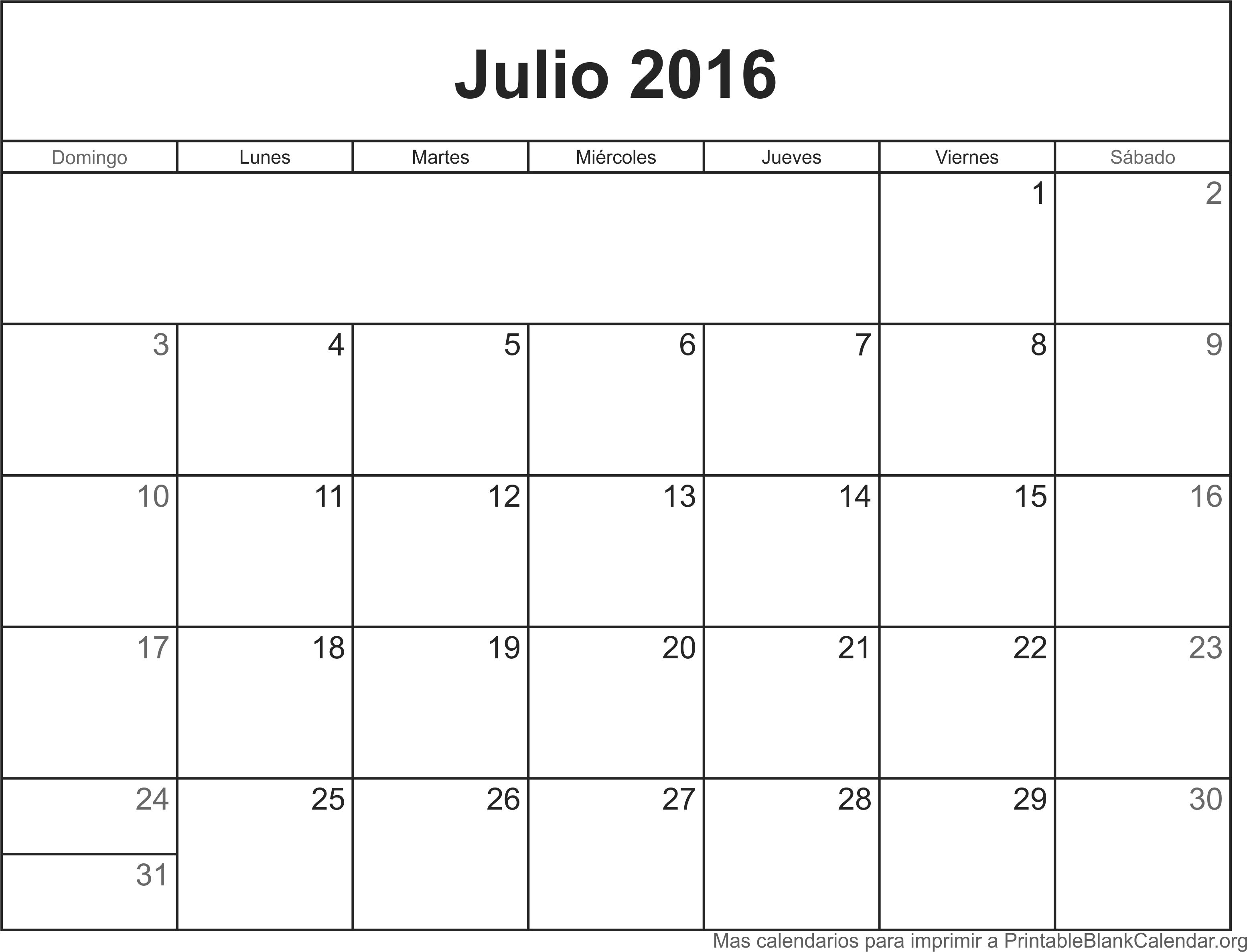 2016 Para Imprimir Related Keywords - Julio Calendario 2016 Para ...