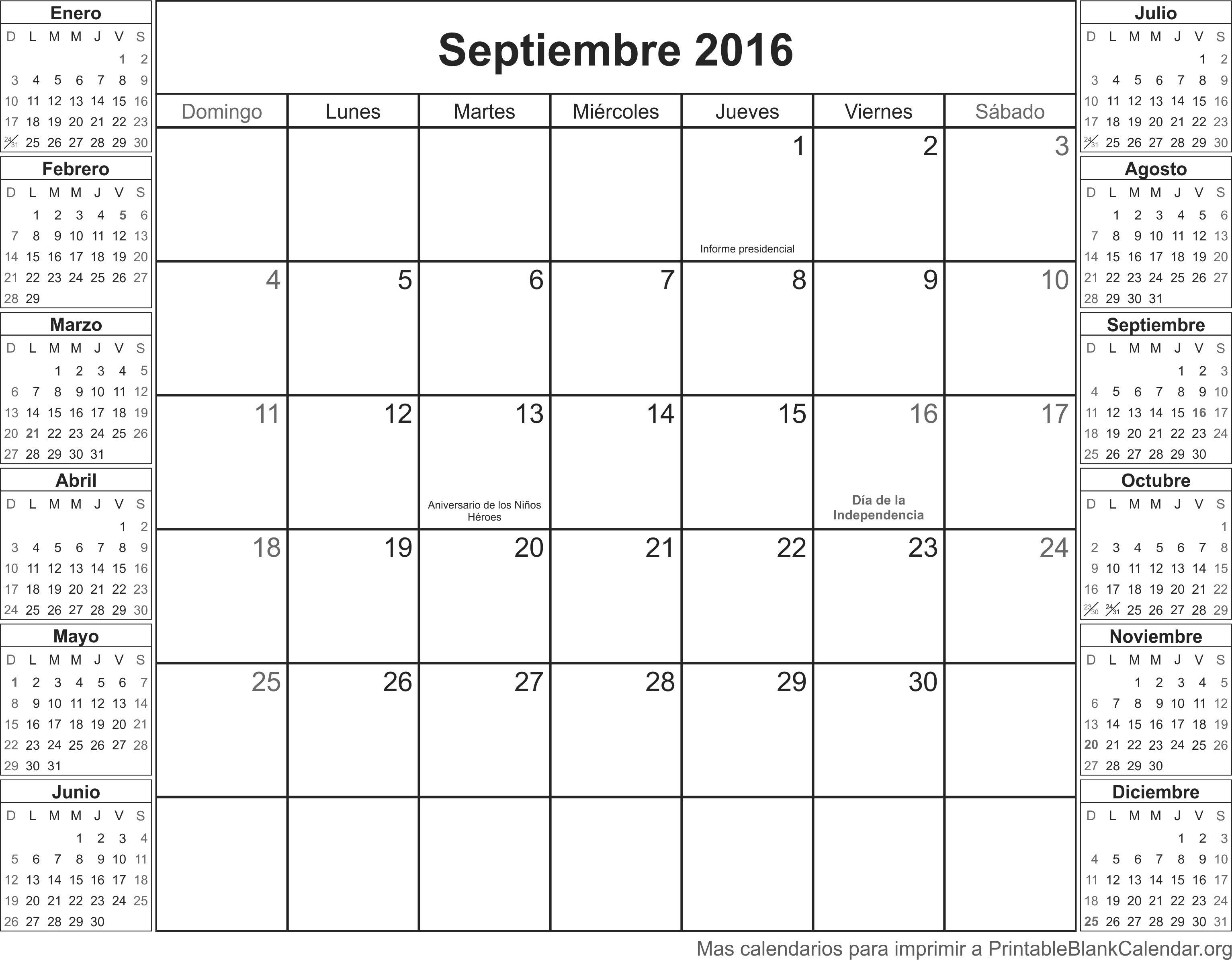 septiembre 2016 calendario