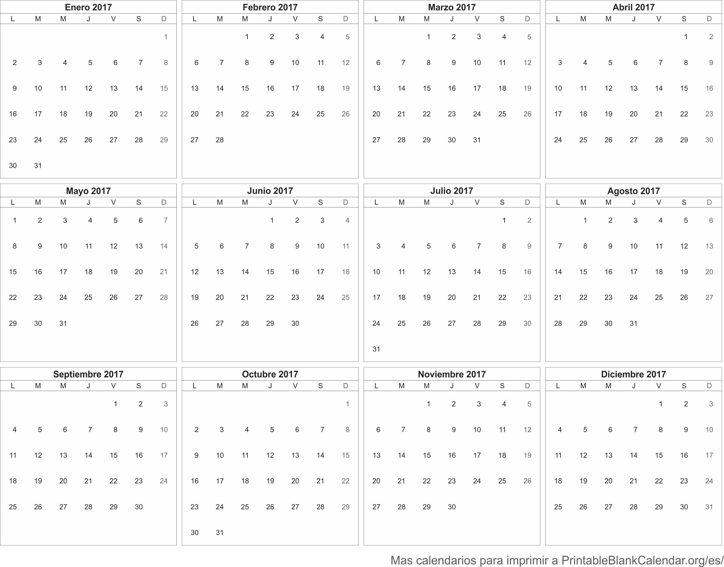 Calendario 2017 libre - Calendarios Para Imprimir