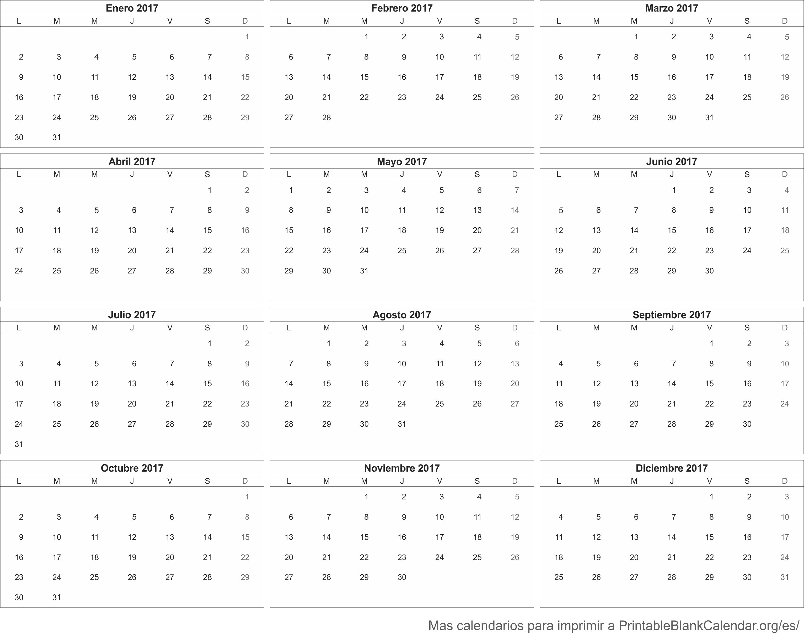 Calendario 2017 - Calendarios Para Imprimir