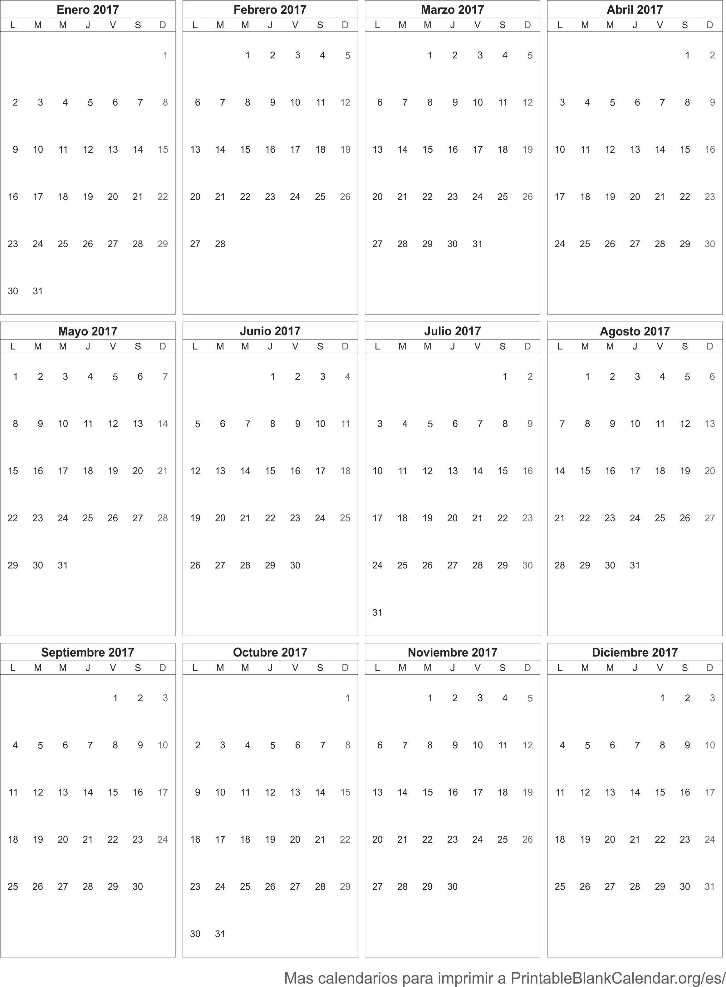 Calendario para imprimir 2017