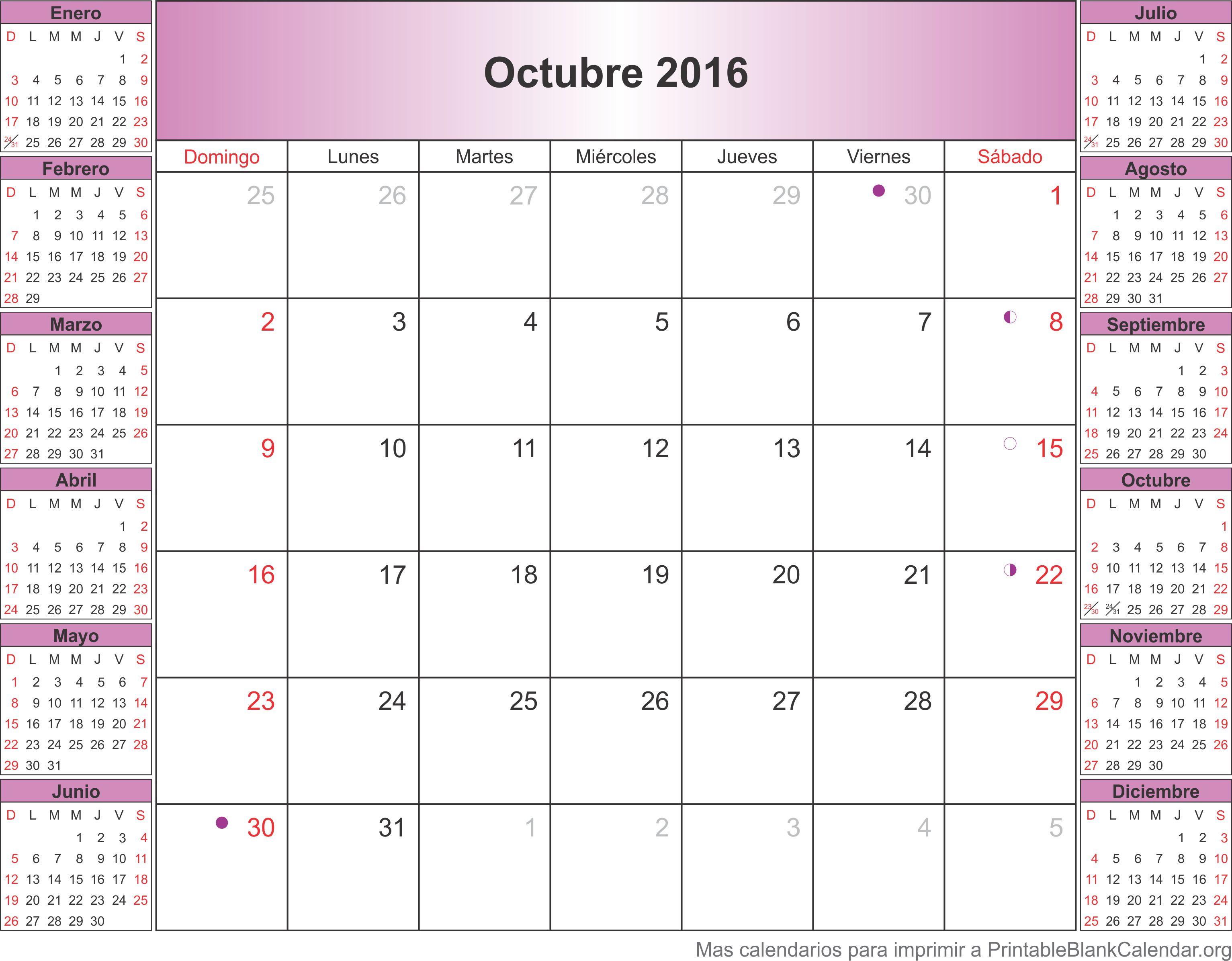 calendario para imprimir oct 2016