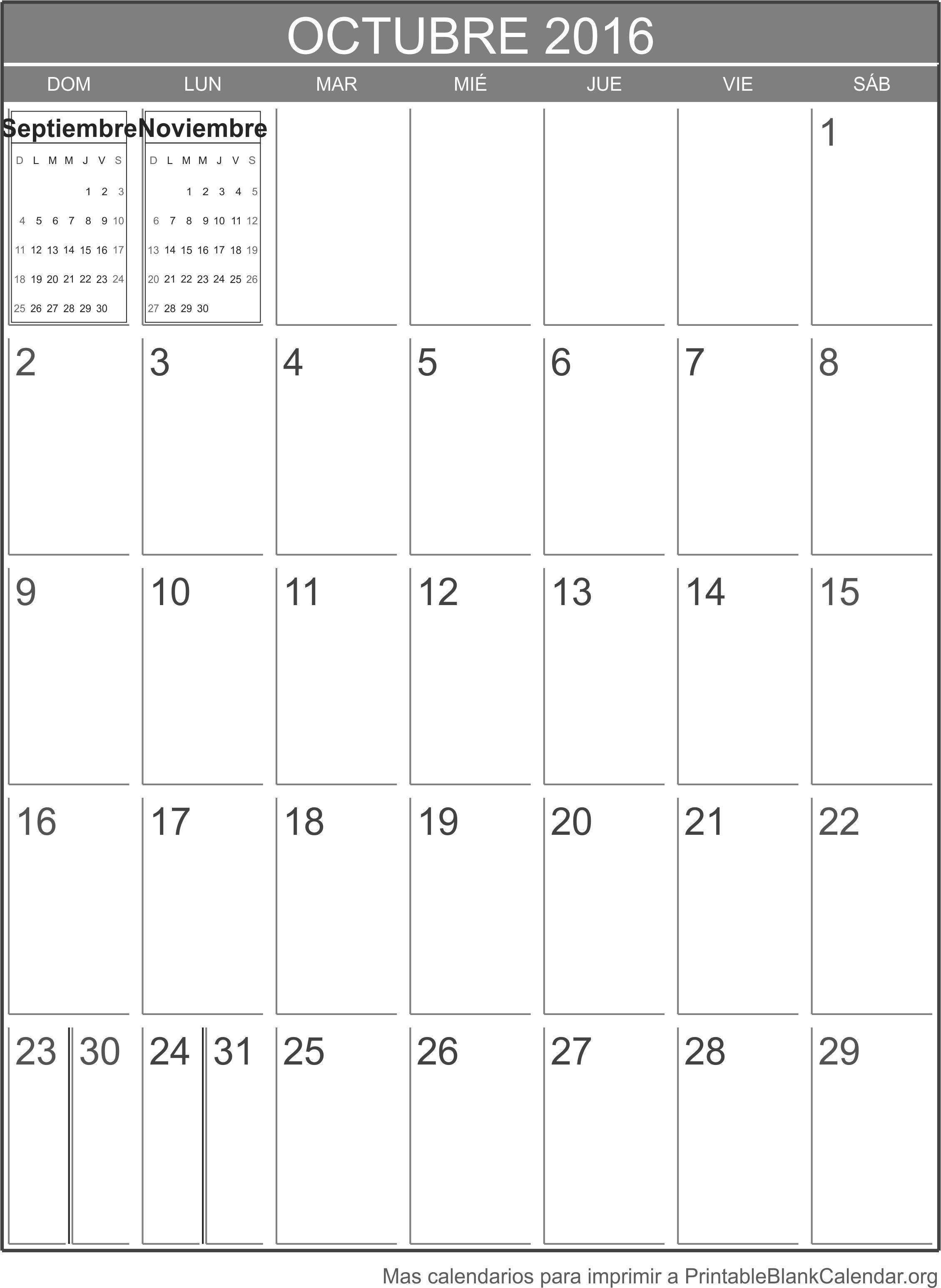 octubre 2016 agenda