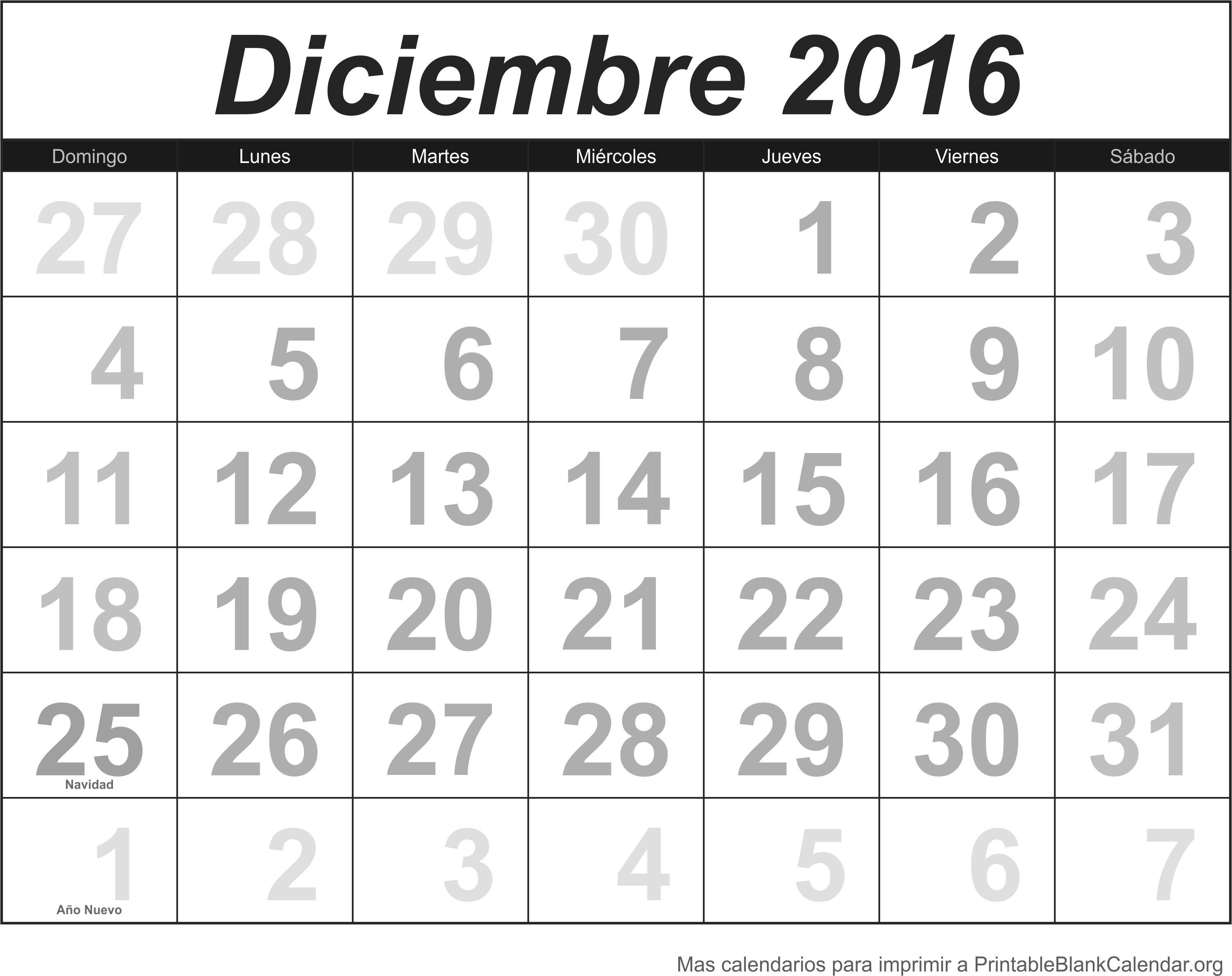 calendario dec 2016