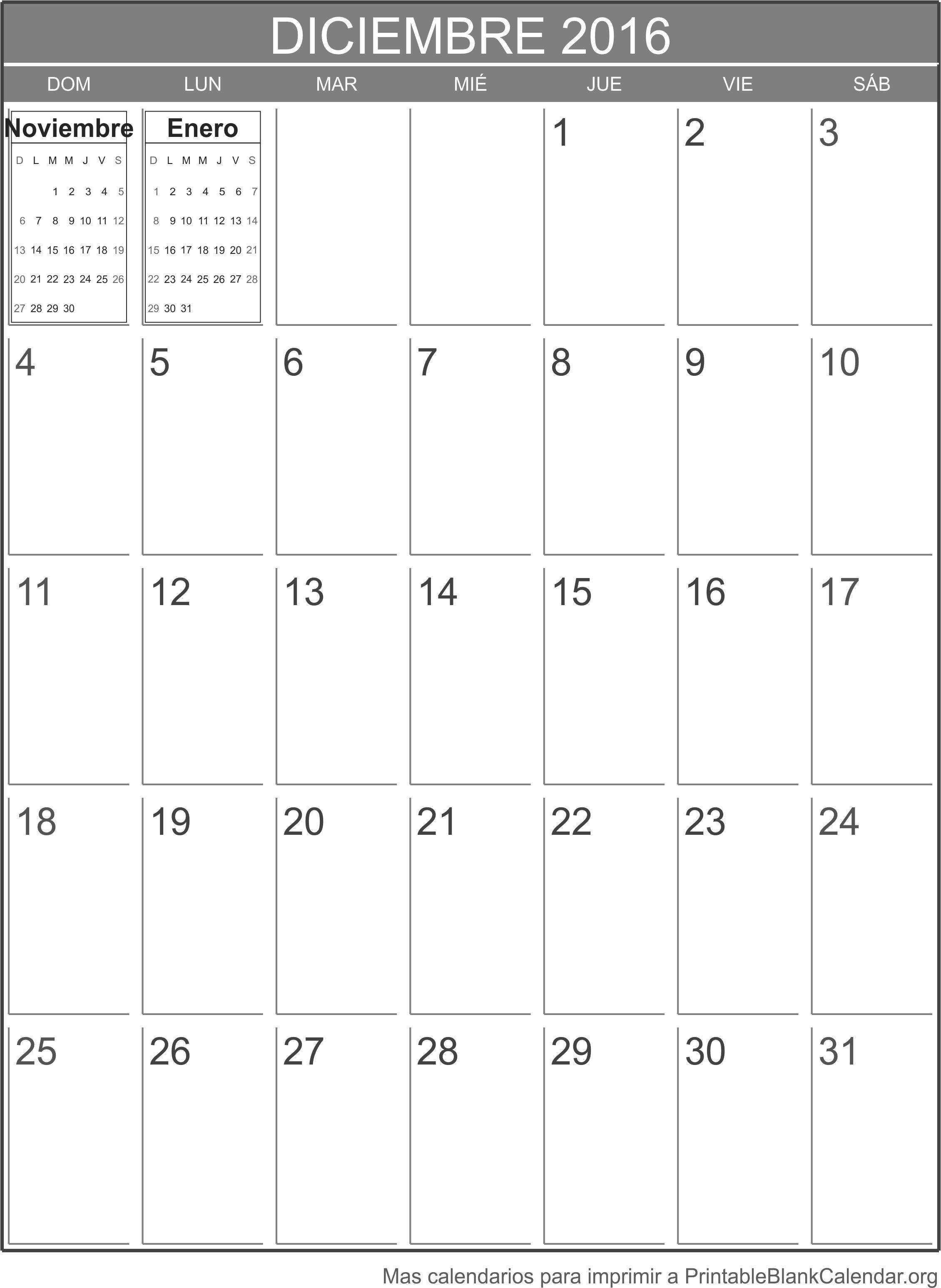 deciembre 2016 calendario