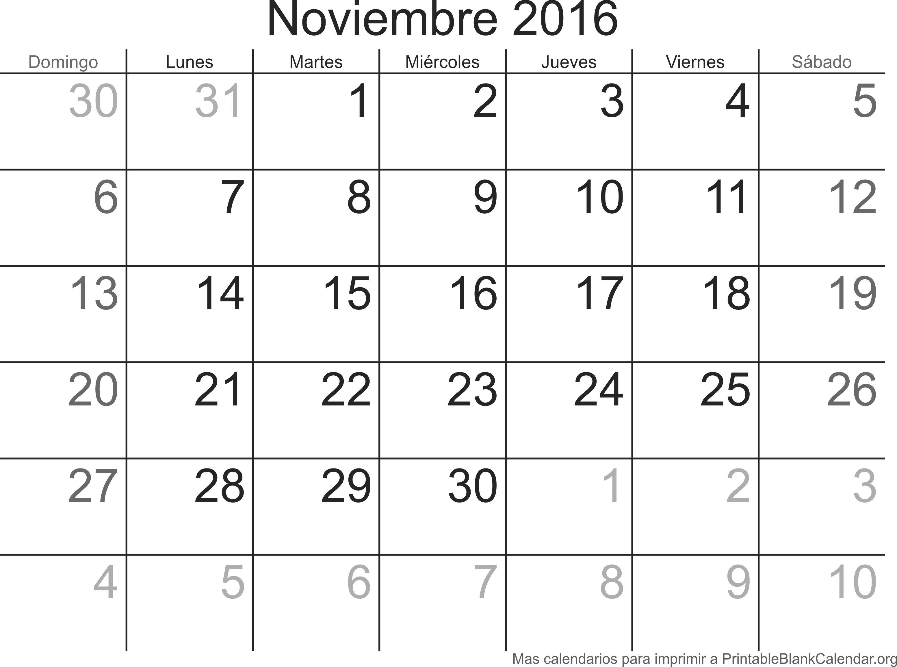 Noviembre 2016 Calendario para Imprimir - Calendarios Para Imprimir