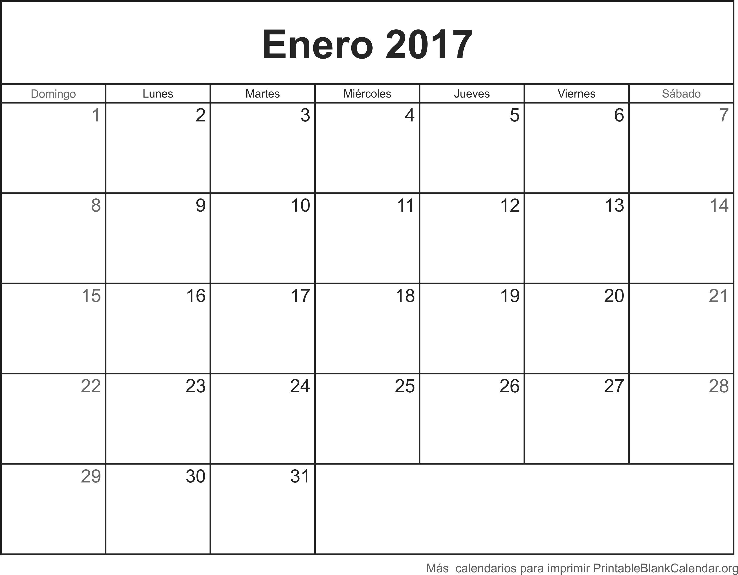calendario ener 2017 para imprimir
