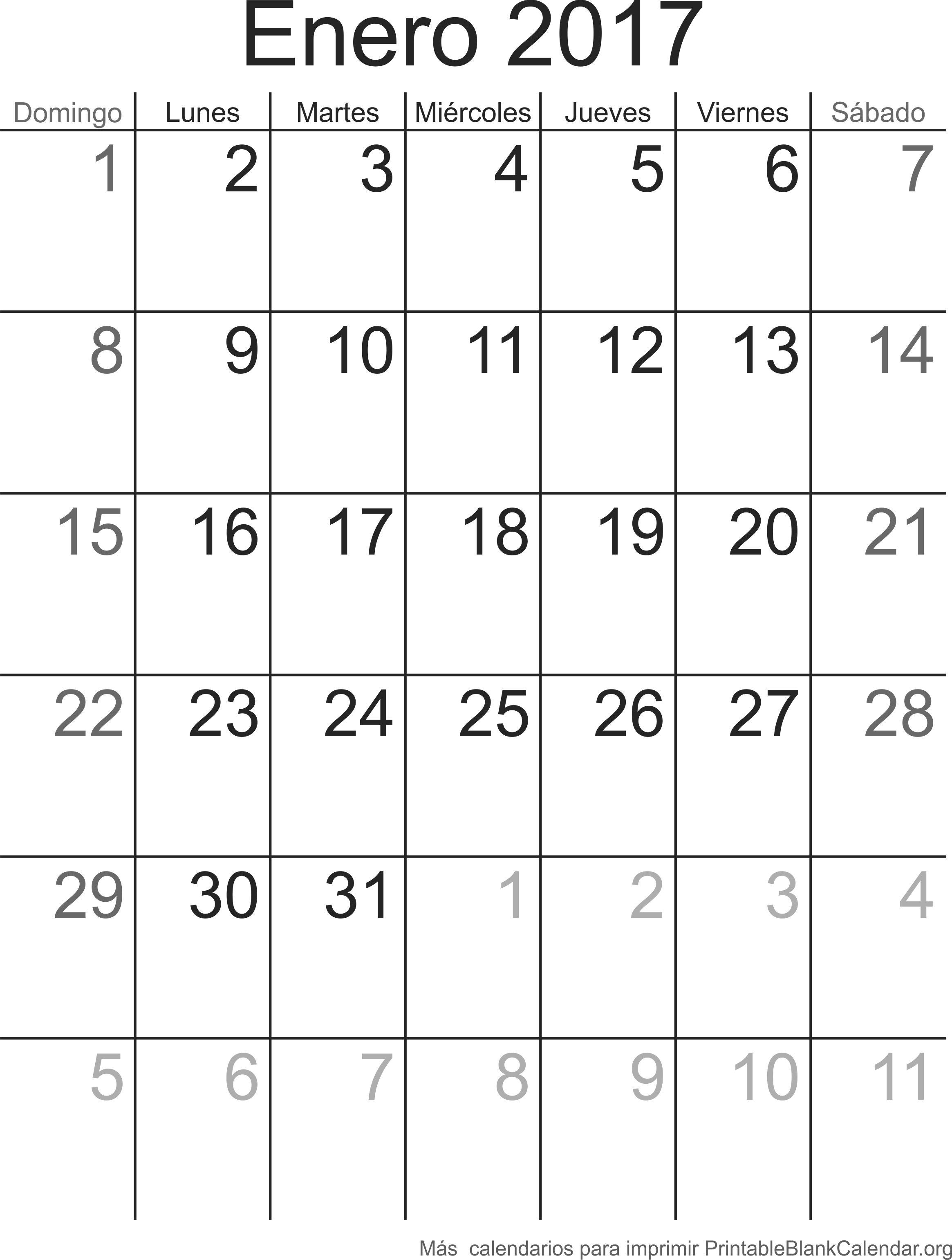 calendario para imprimir ener 2017