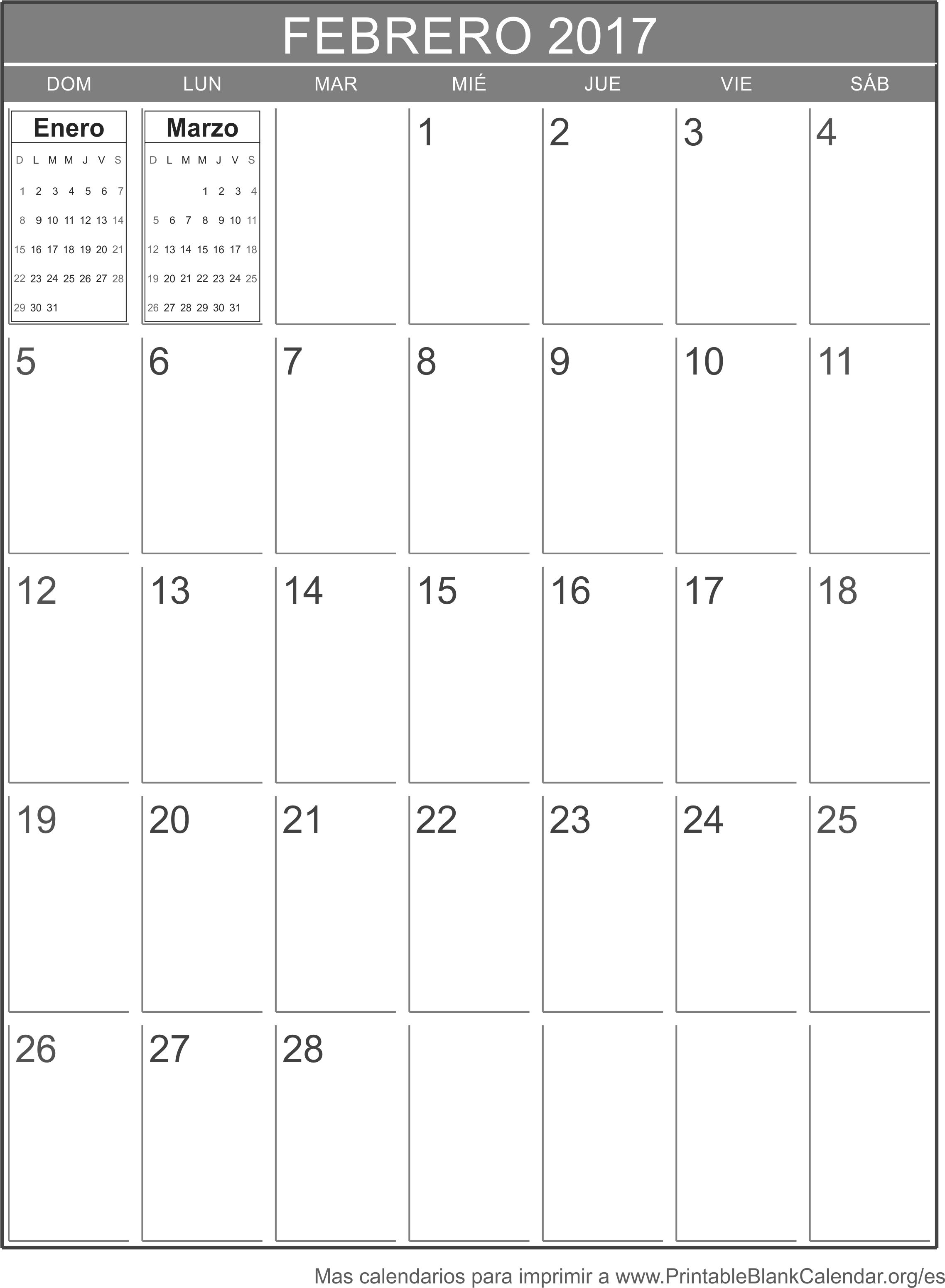 calendario feb 2017 para imprimir