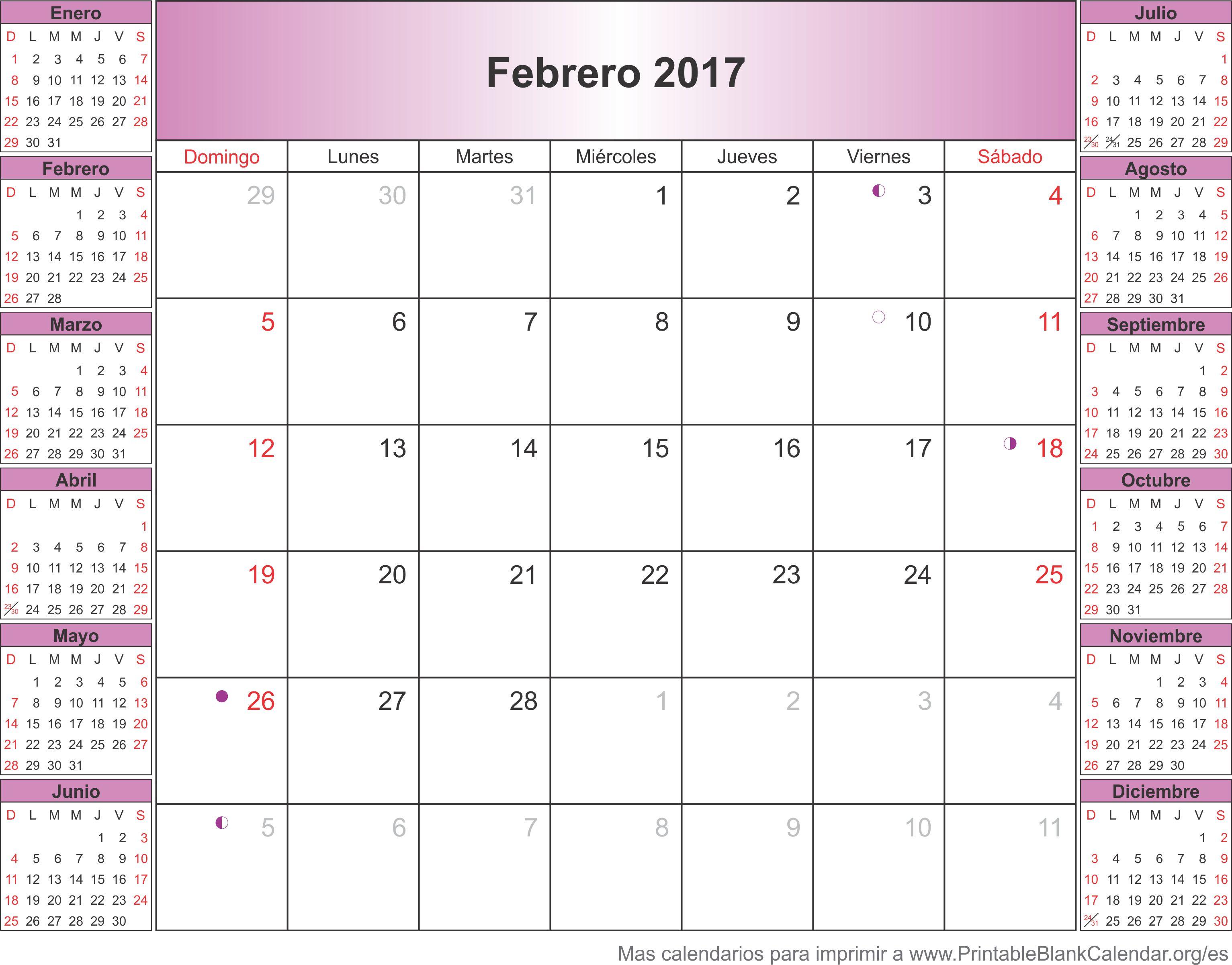 febrero 2017 calendario