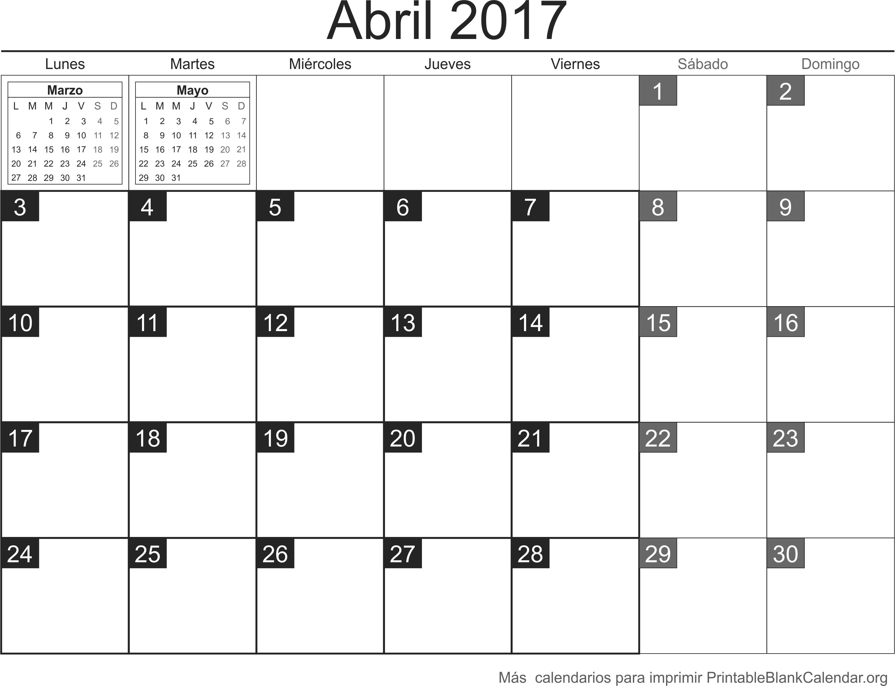abril 2017 calendario