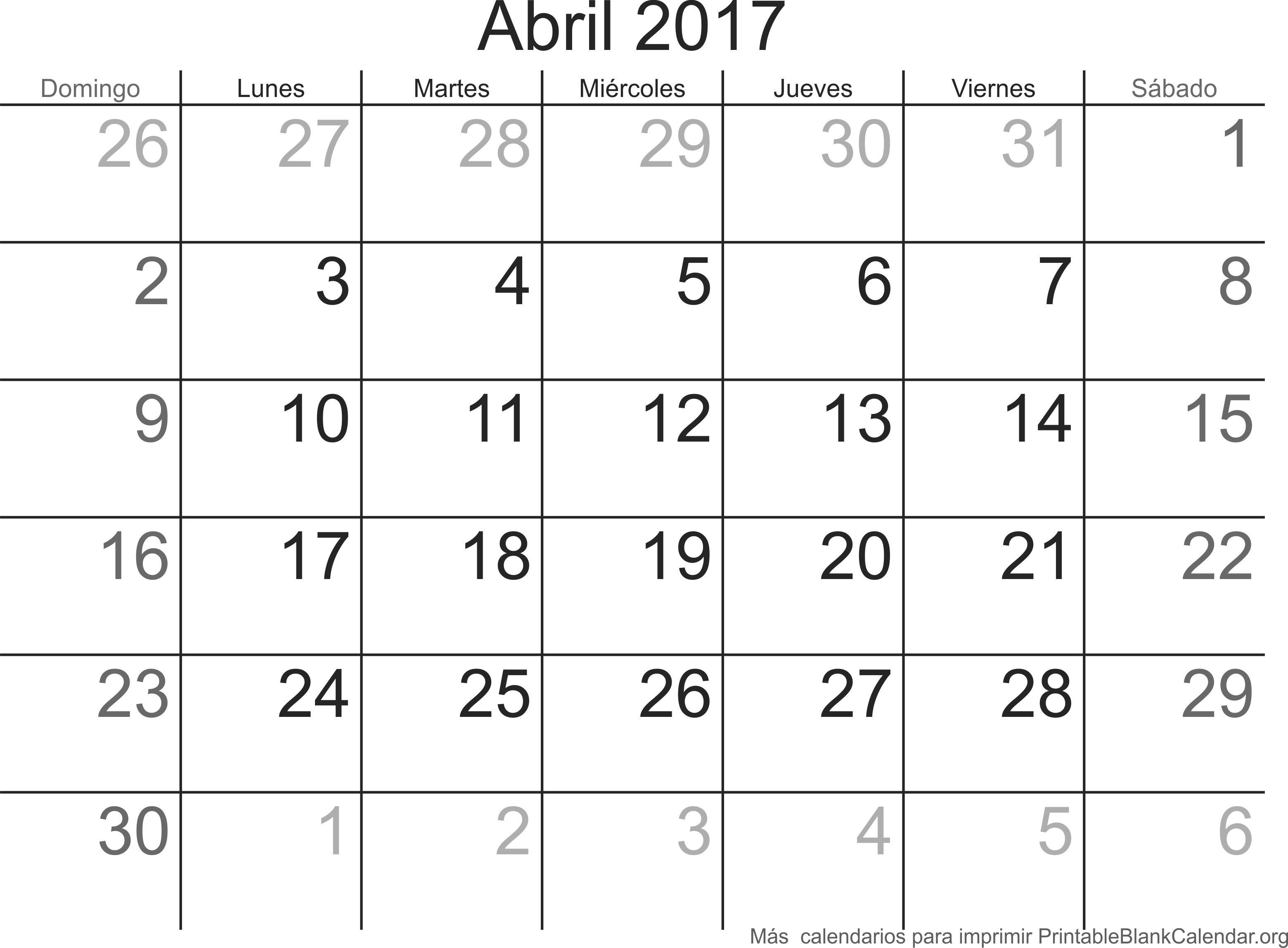 calendario para imprimir abr 2017