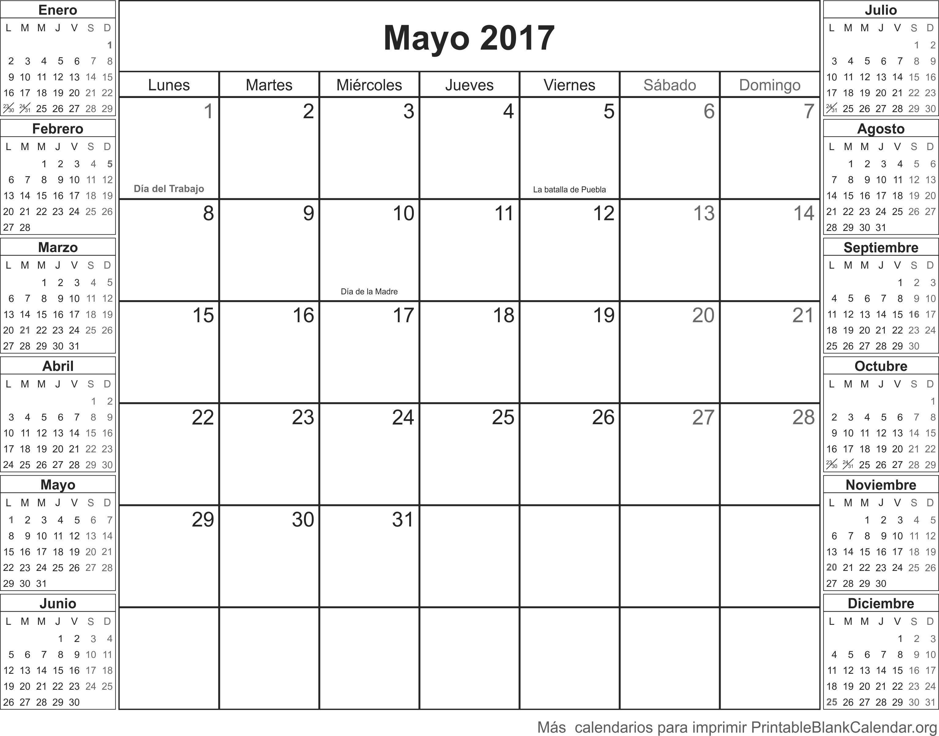 calendario para imprimir mayo 2017