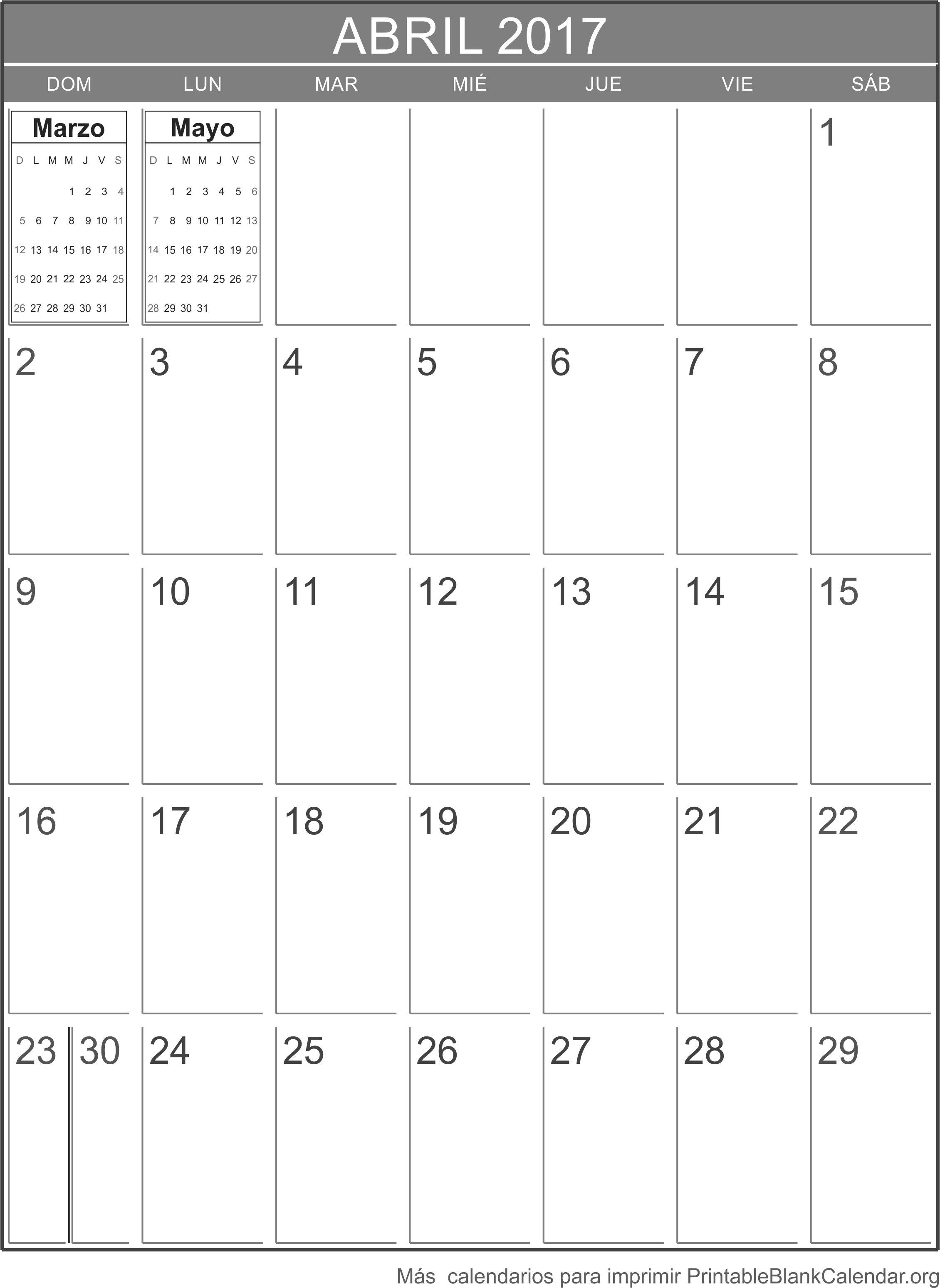 imprimir calendario abril 2017