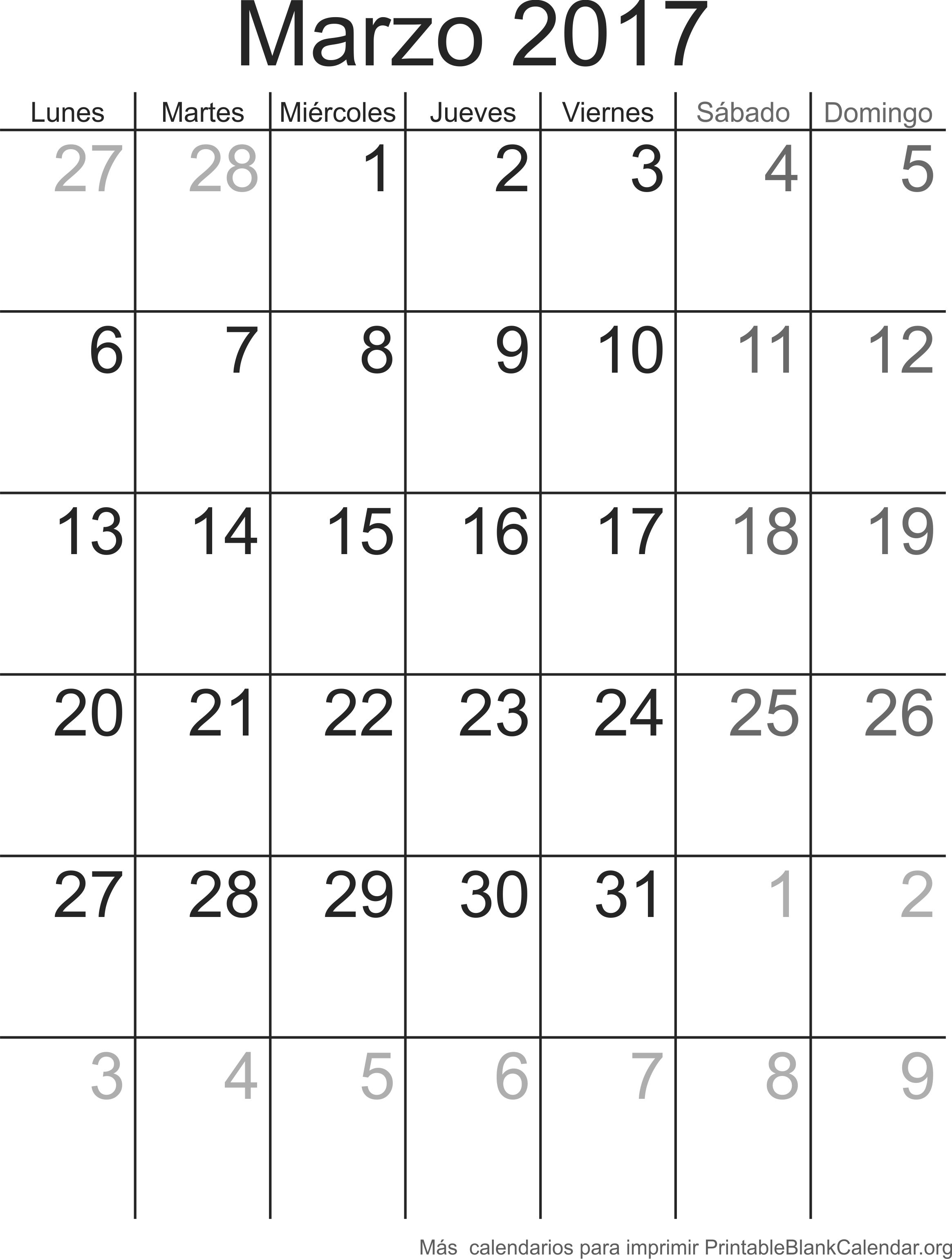 imprimir calendario marzo 2017