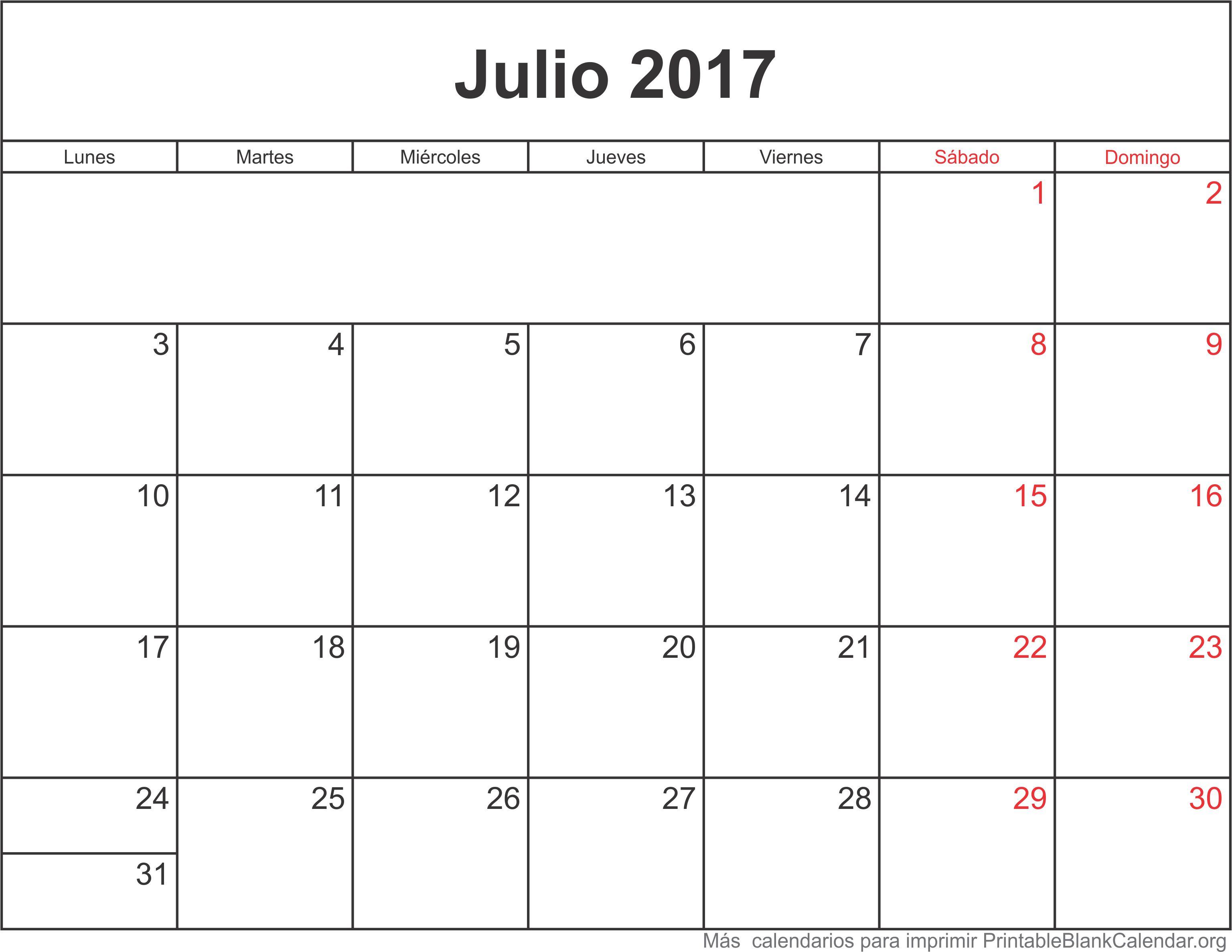 calendario jul 2017 para imprimir