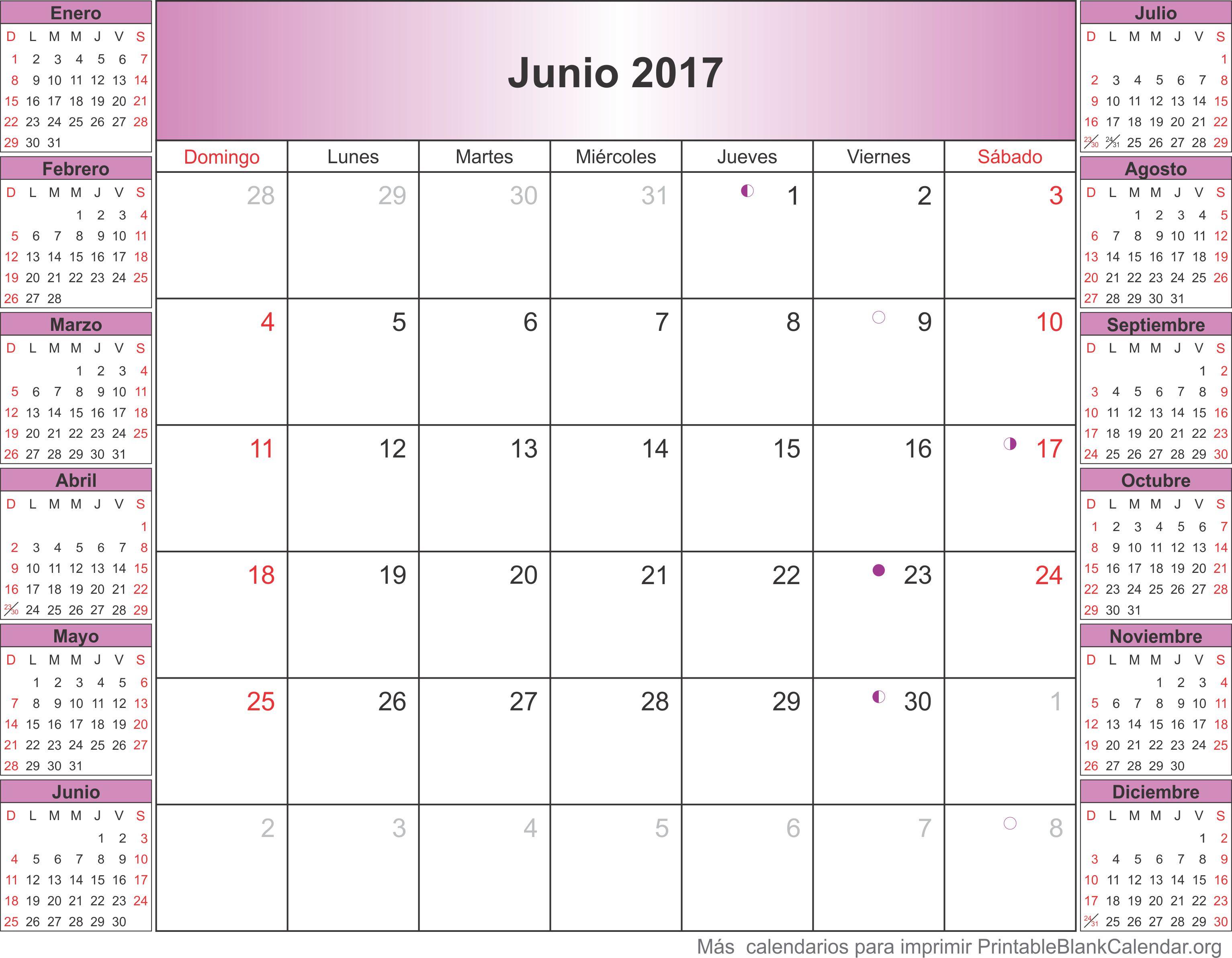 calendariov para imprimir junio 2017