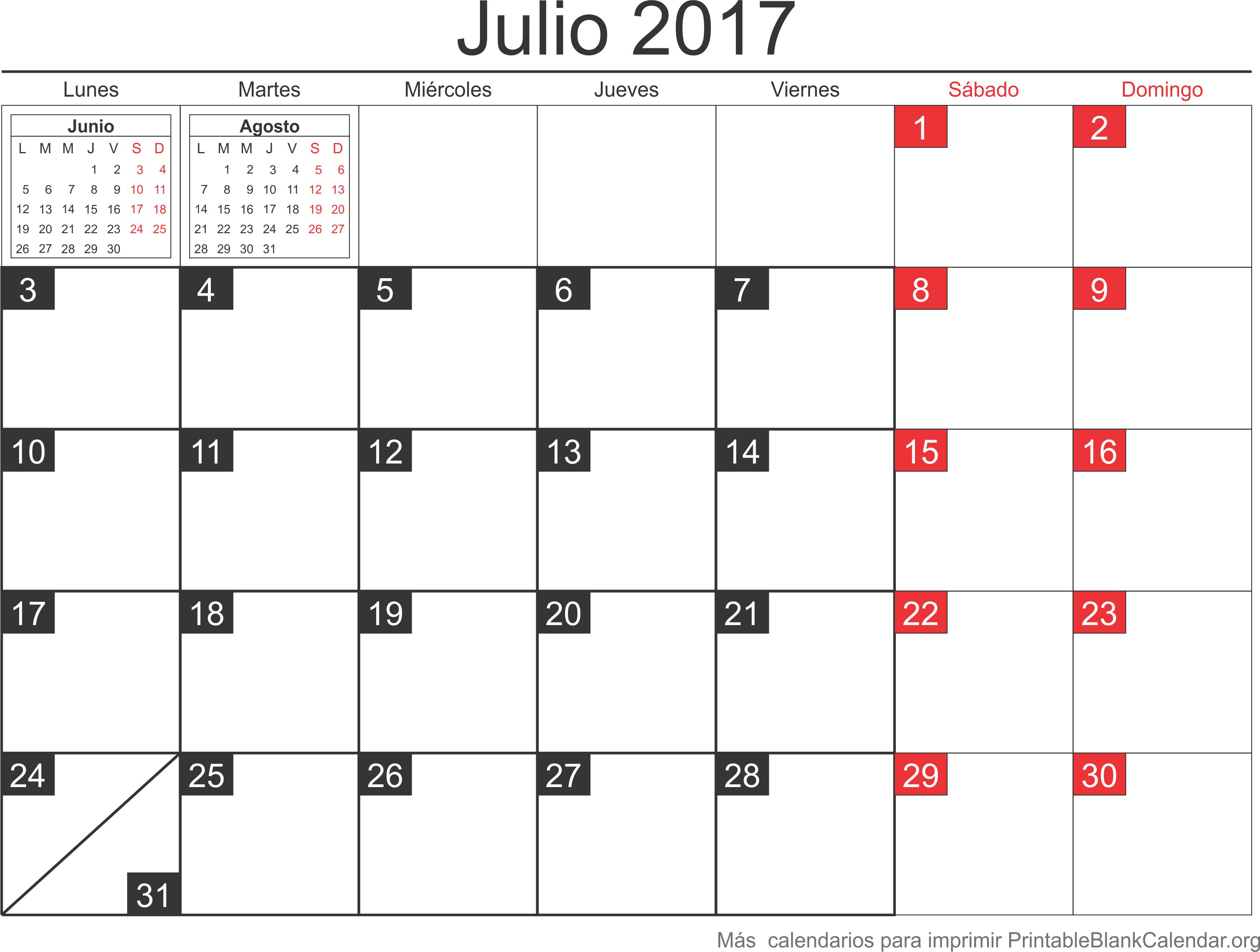 julio 2017 agenda