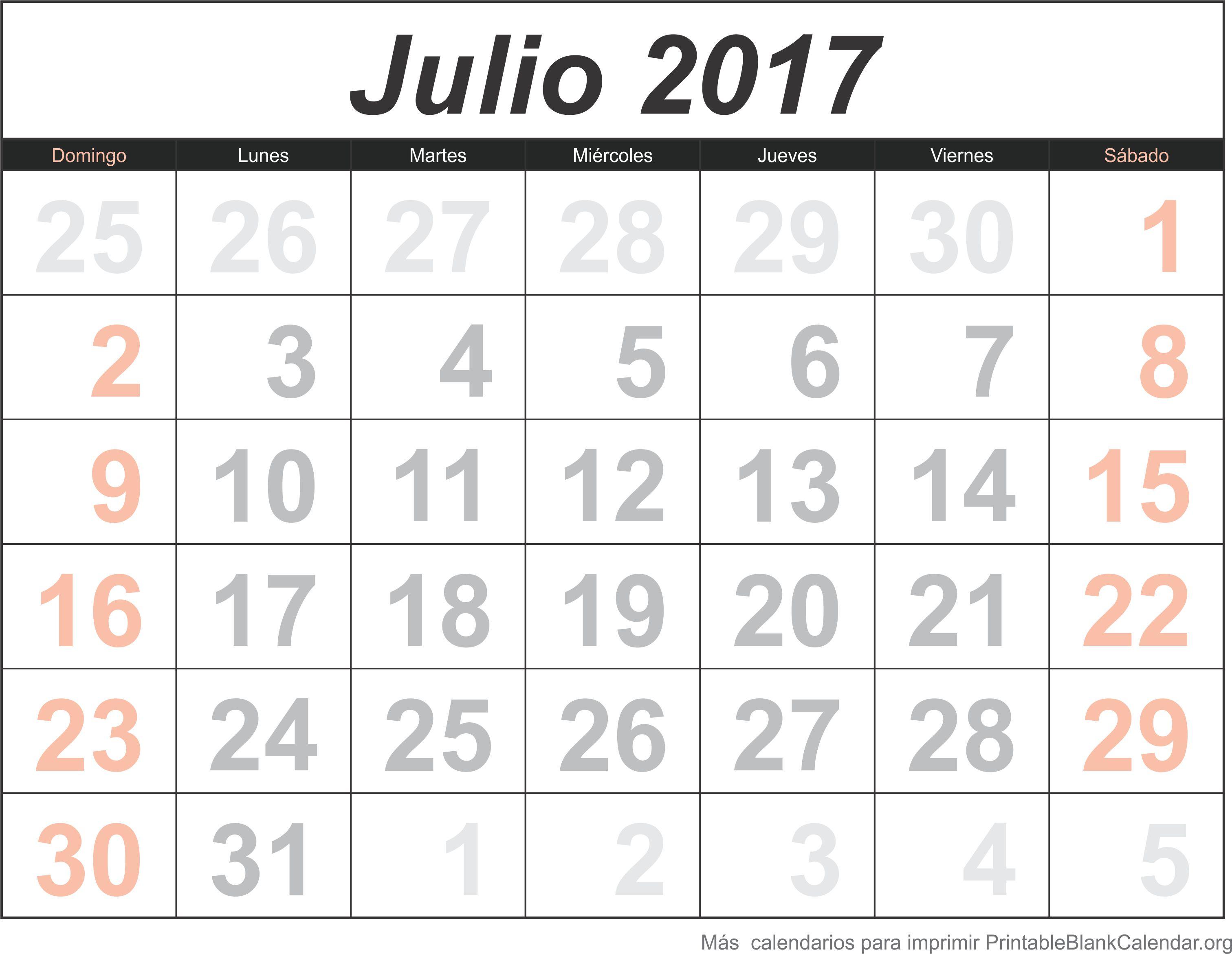 julio 2017 calendario