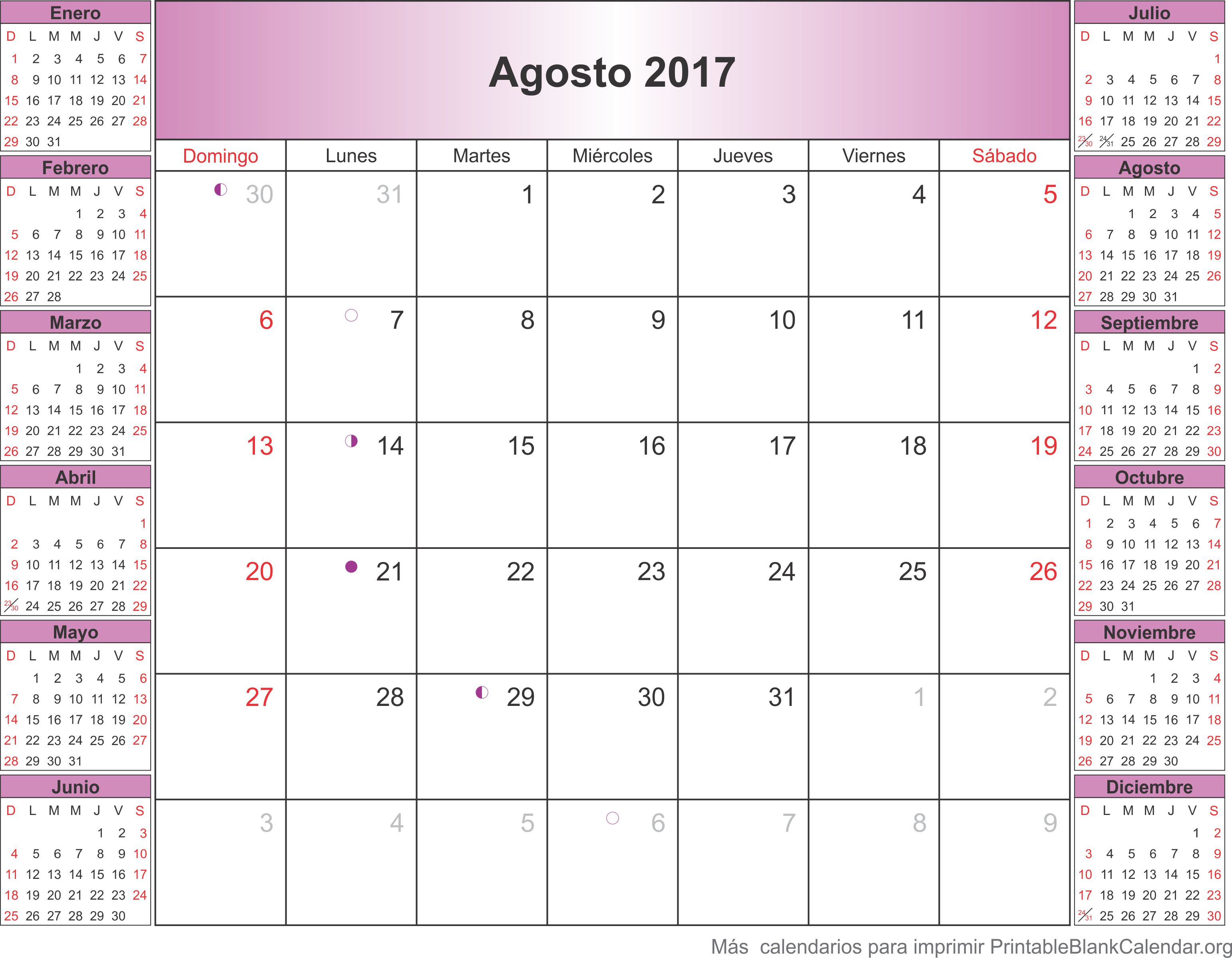 agosto 2017 calendario